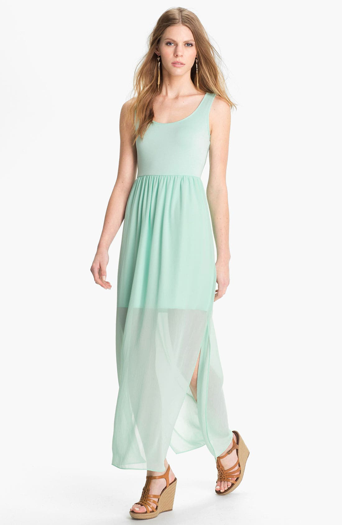 Alternate Image 1 Selected - Soprano Half Sheer Maxi Dress (Juniors)