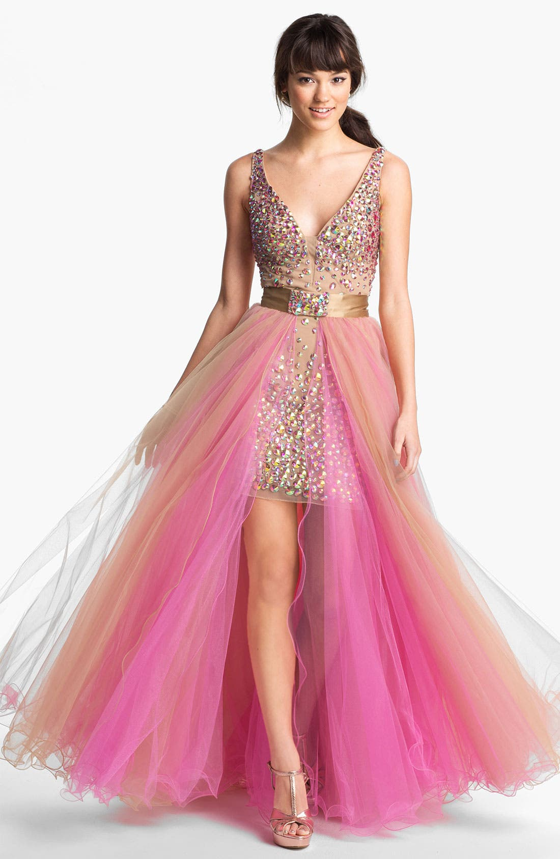 Main Image - Sherri Hill Beaded Tulle Overlay Dress (Online Exclusive)