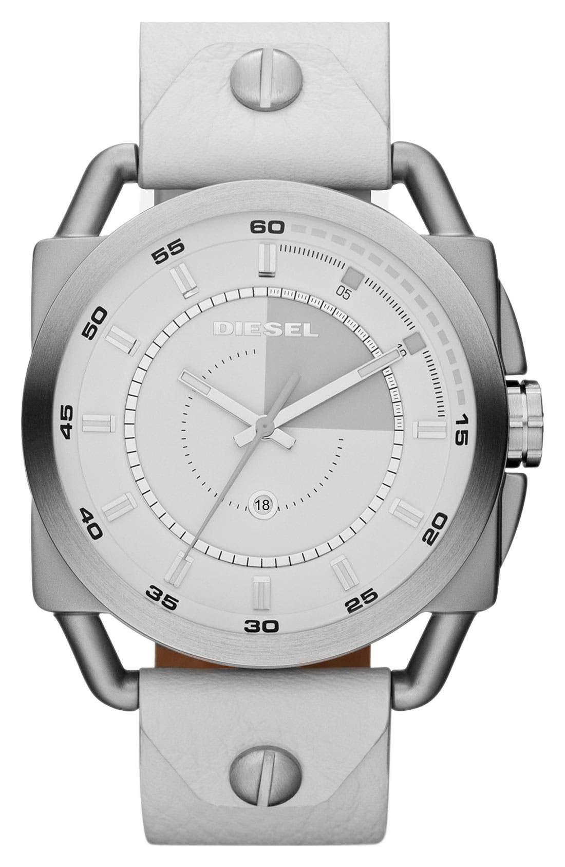 Main Image - DIESEL® 'Descender' Leather Strap Watch, 50mm