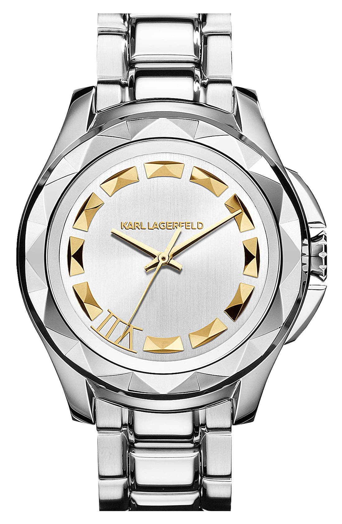 Alternate Image 1 Selected - KARL LAGERFELD '7' Faceted Bezel Bracelet Watch, 44mm x 53mm
