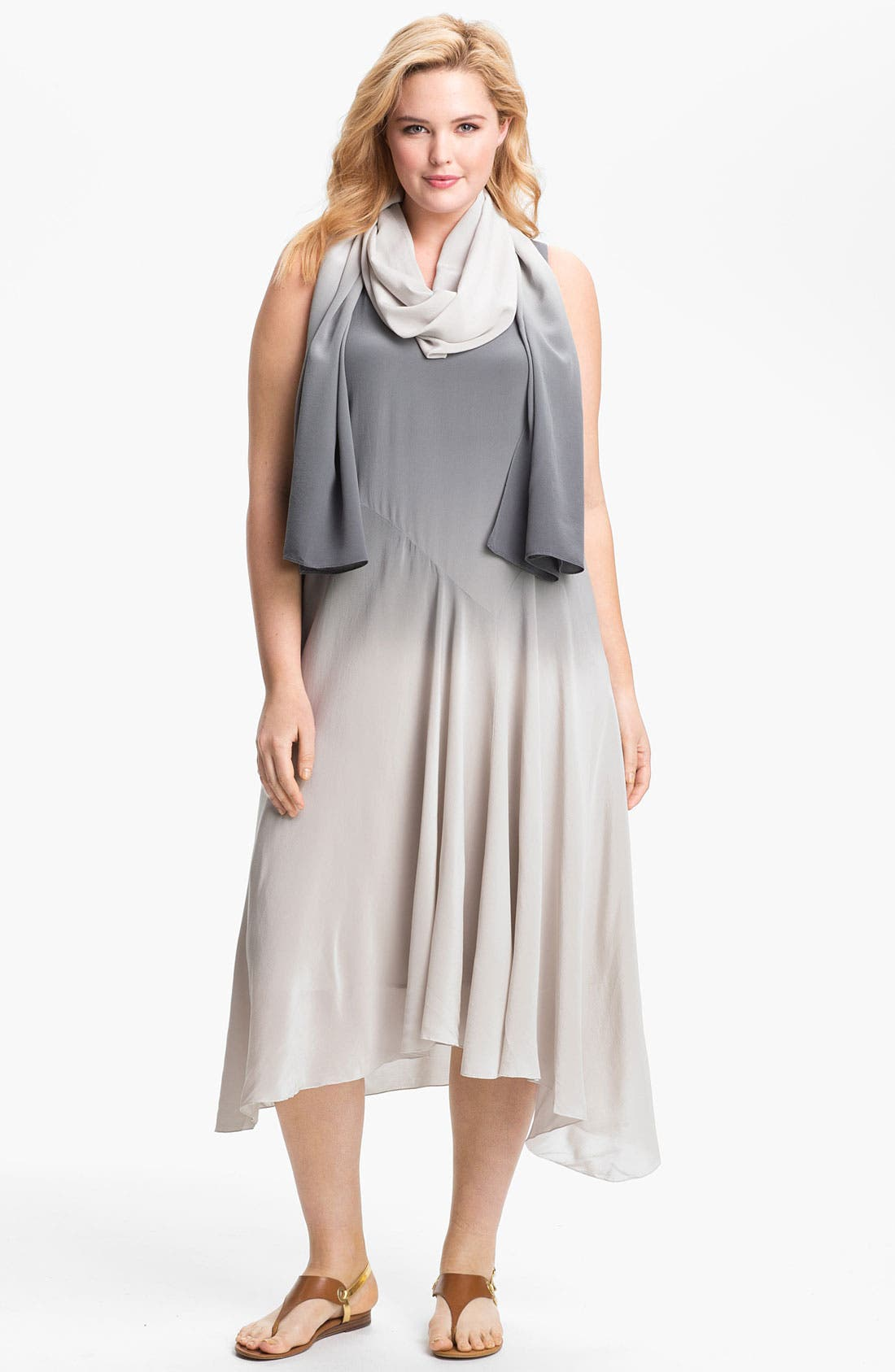 Alternate Image 1 Selected - Eileen Fisher Ombré Silk Dress (Plus Size)