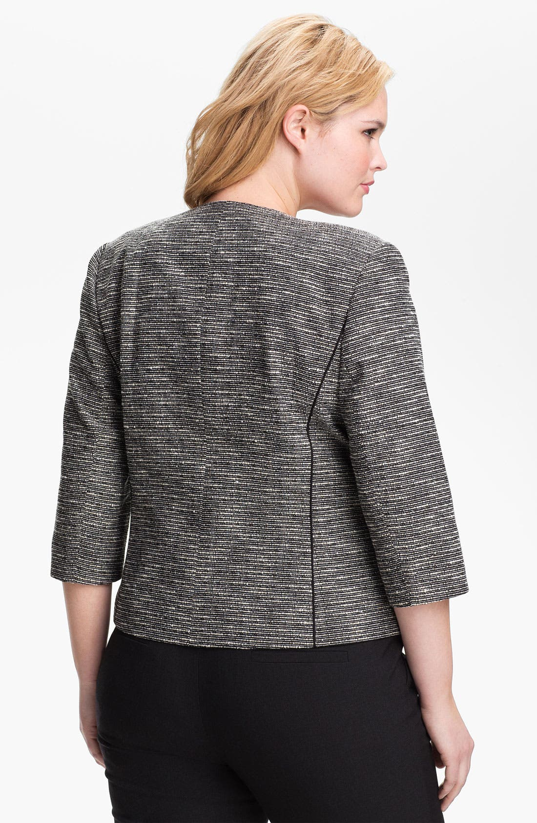 Alternate Image 2  - Sejour Tweed Moto Jacket (Plus Size)