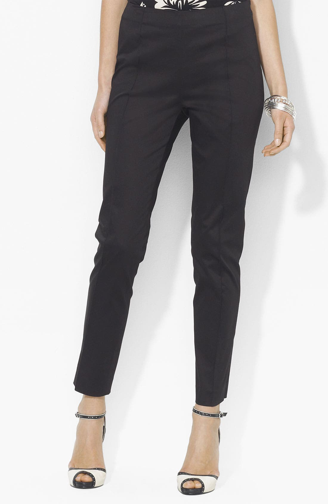 Main Image - Lauren Ralph Lauren Side Zip Ankle Pants (Petite) (Online Exclusive)