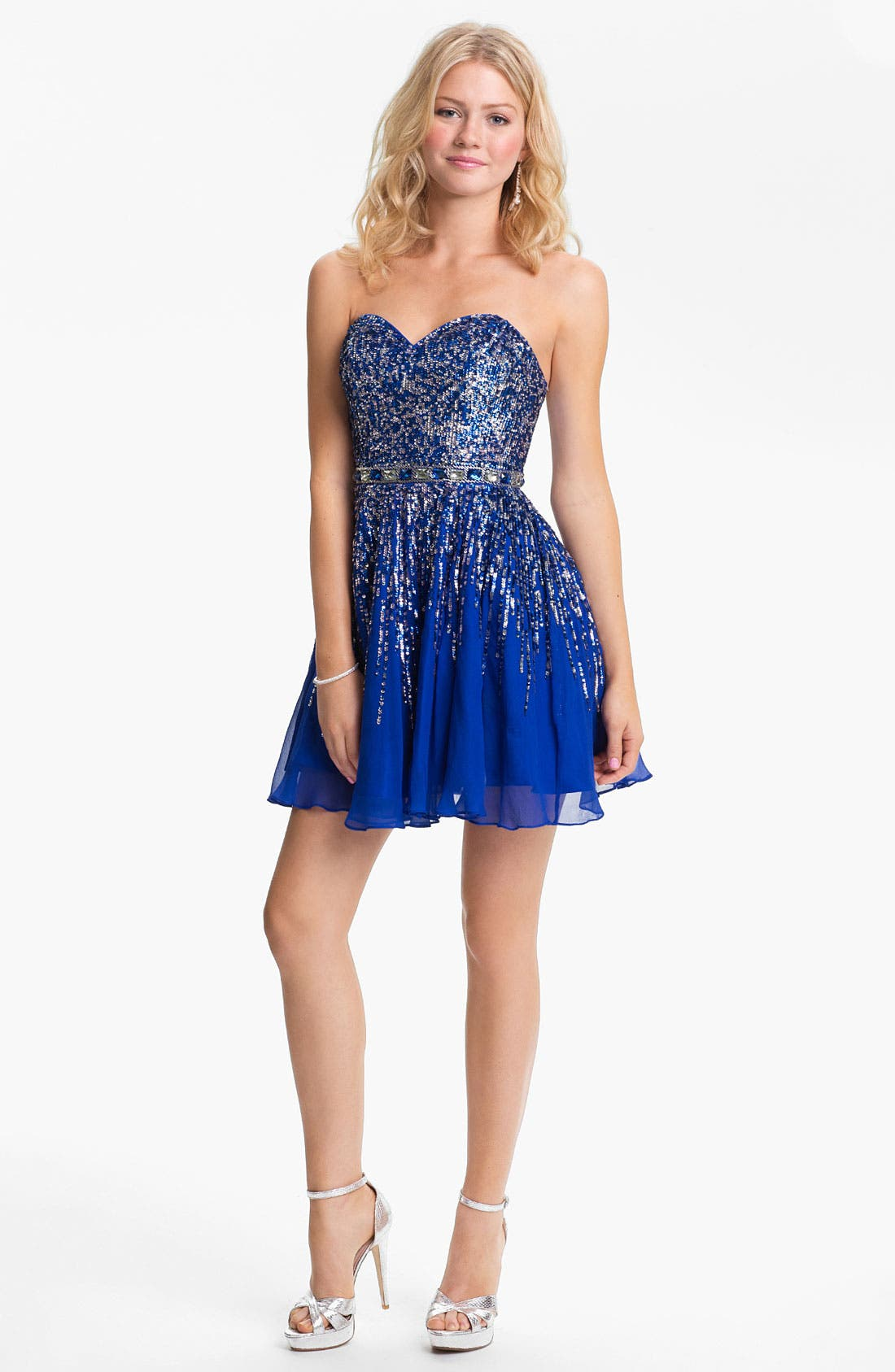 Alternate Image 1 Selected - Sherri Hill Embellished Sweetheart Fit & Flare Silk Dress (Online Only)
