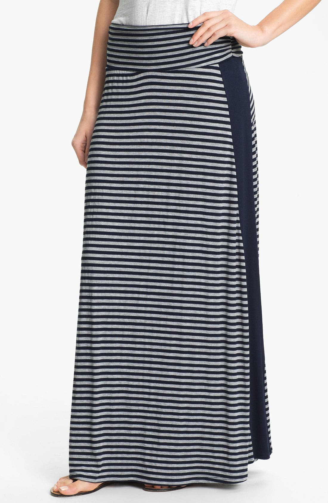Alternate Image 1 Selected - Bobeau Tuxedo Stripe Maxi Skirt