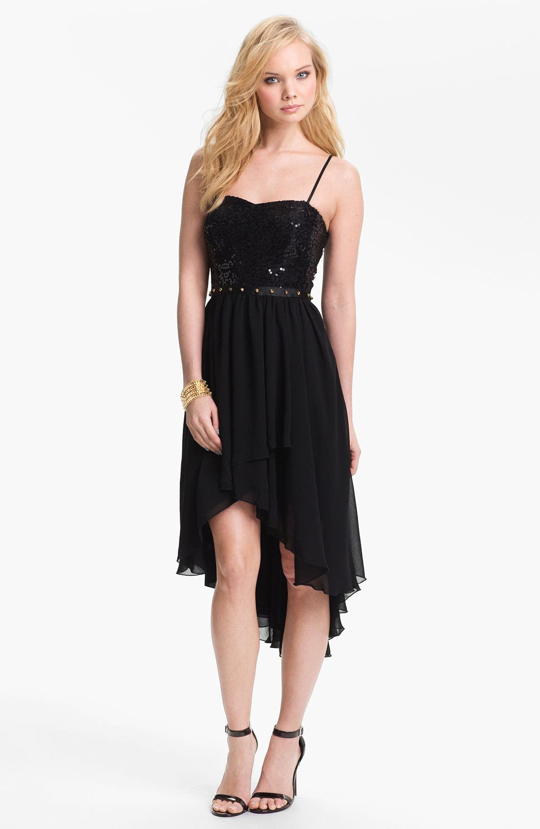 Alternate Image 1 Selected - Way-In Studded Waist High/Low Dress (Juniors)