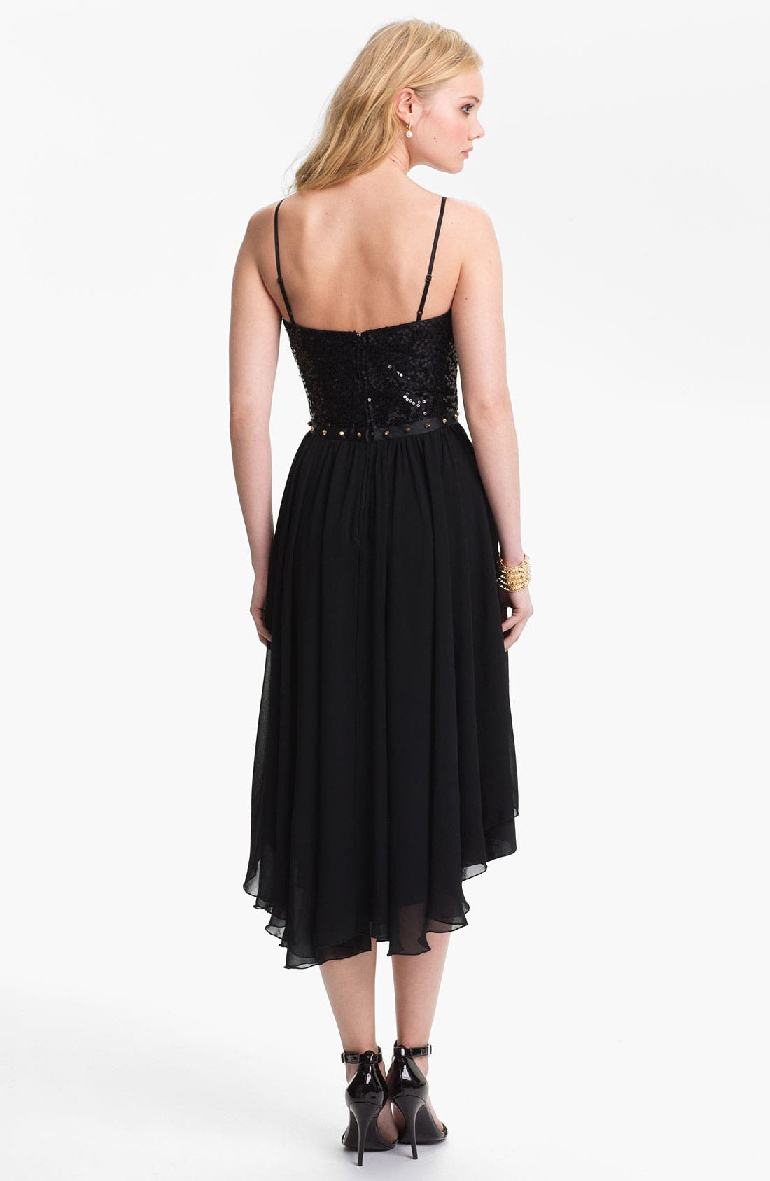 Alternate Image 2  - Way-In Studded Waist High/Low Dress (Juniors)