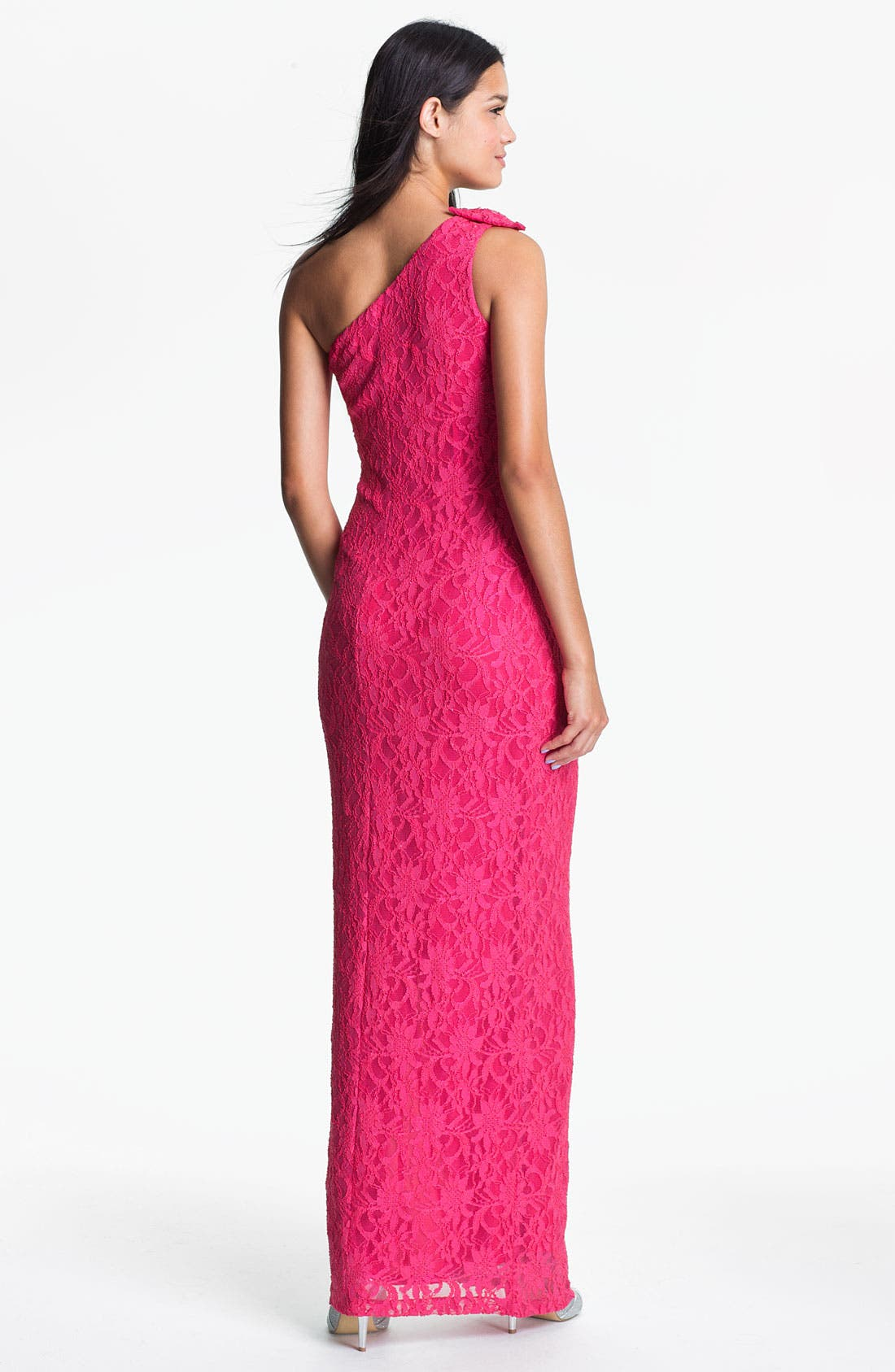 Alternate Image 2  - Hailey by Adrianna Papell One Shoulder Lace Gown