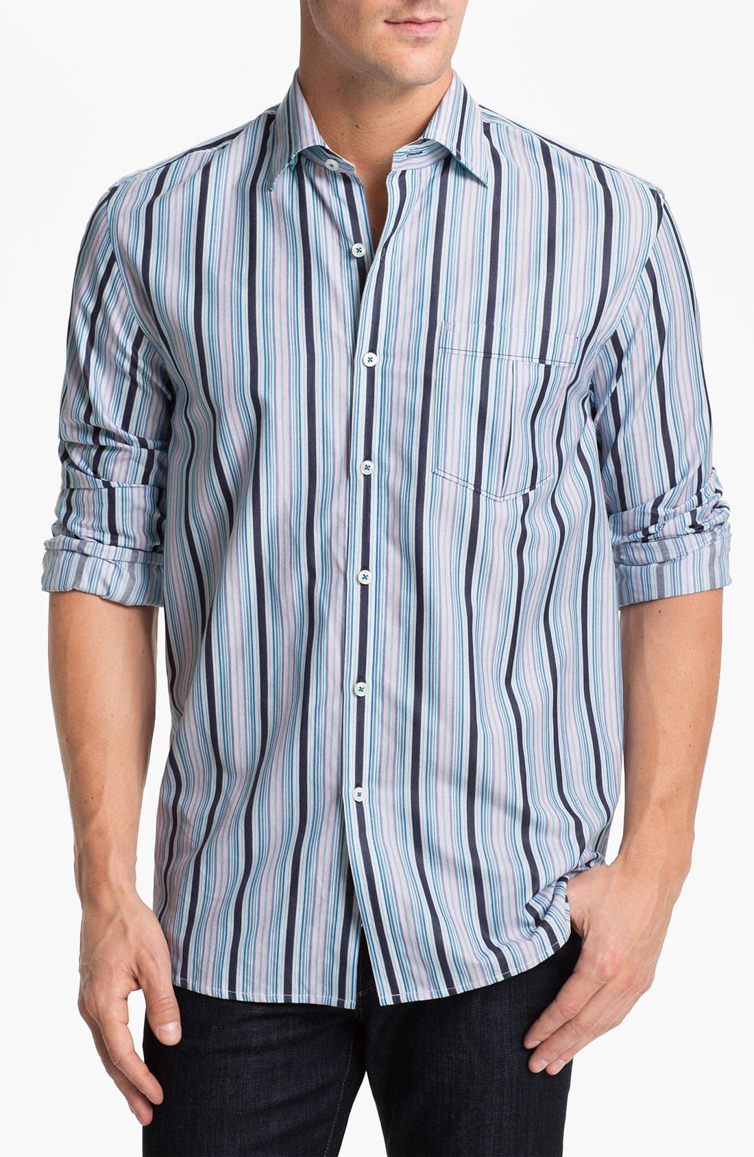 Alternate Image 1 Selected - Tommy Bahama 'Stripe del Sol' Sport Shirt
