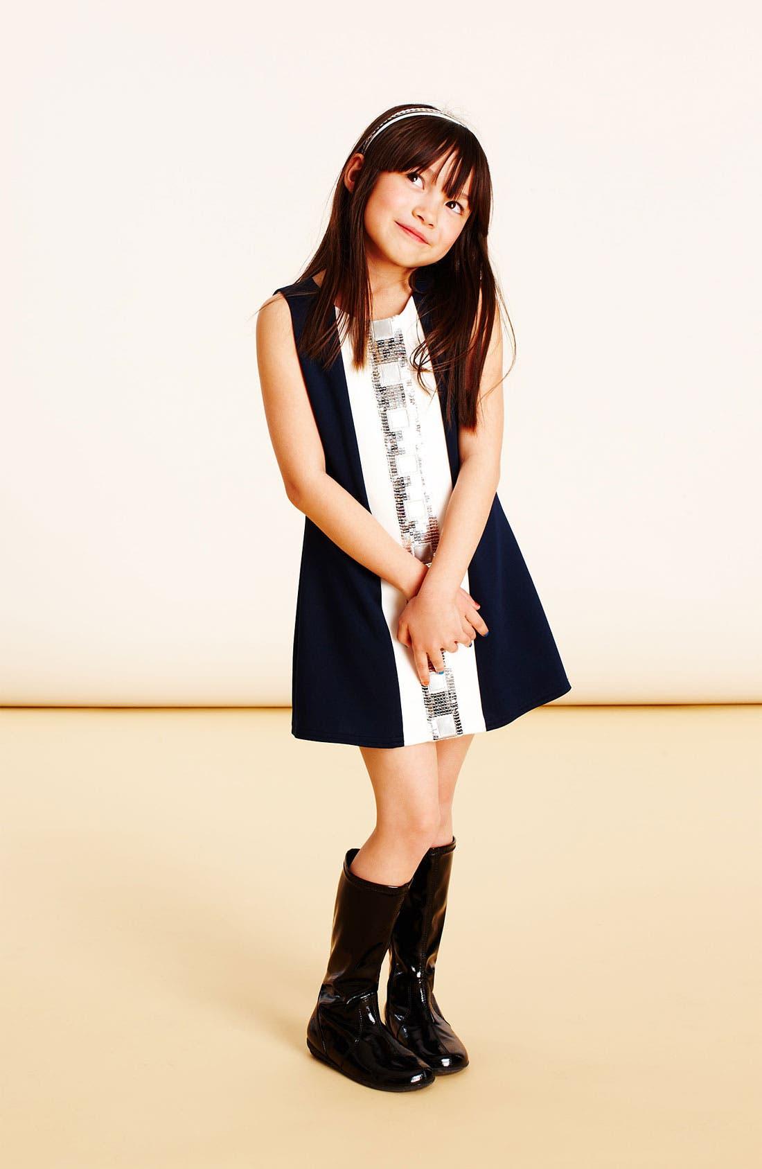 Main Image - Zoe Ltd 'Mod' Dress & Ruby & Bloom Cardigan (Big Girls)