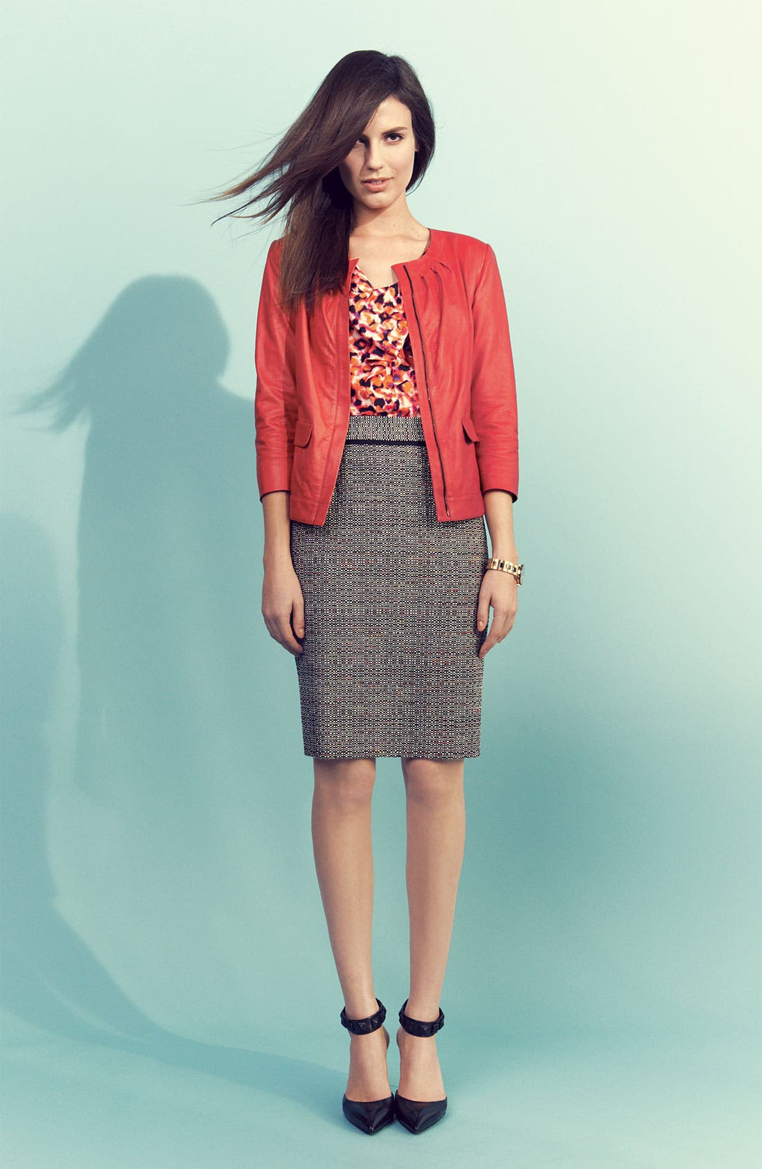 Main Image - Classiques Entier Leather Jacket, Silk Top & Tweed Skirt