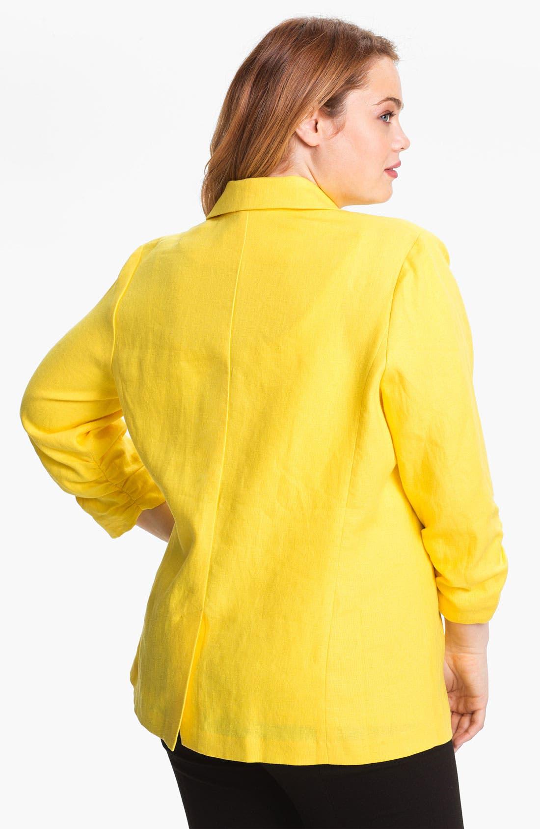 Alternate Image 2  - MICHAEL Michael Kors Shirred Linen Jacket (Plus)