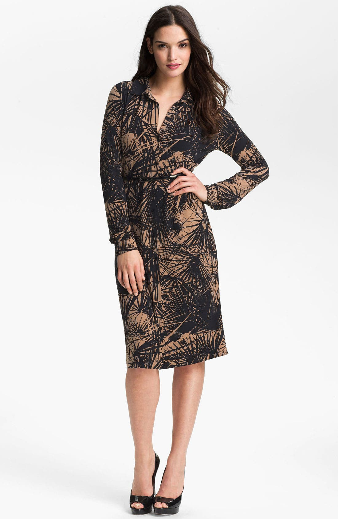 Alternate Image 1 Selected - Anne Klein 'Leo - Palm Print' Shirtdress