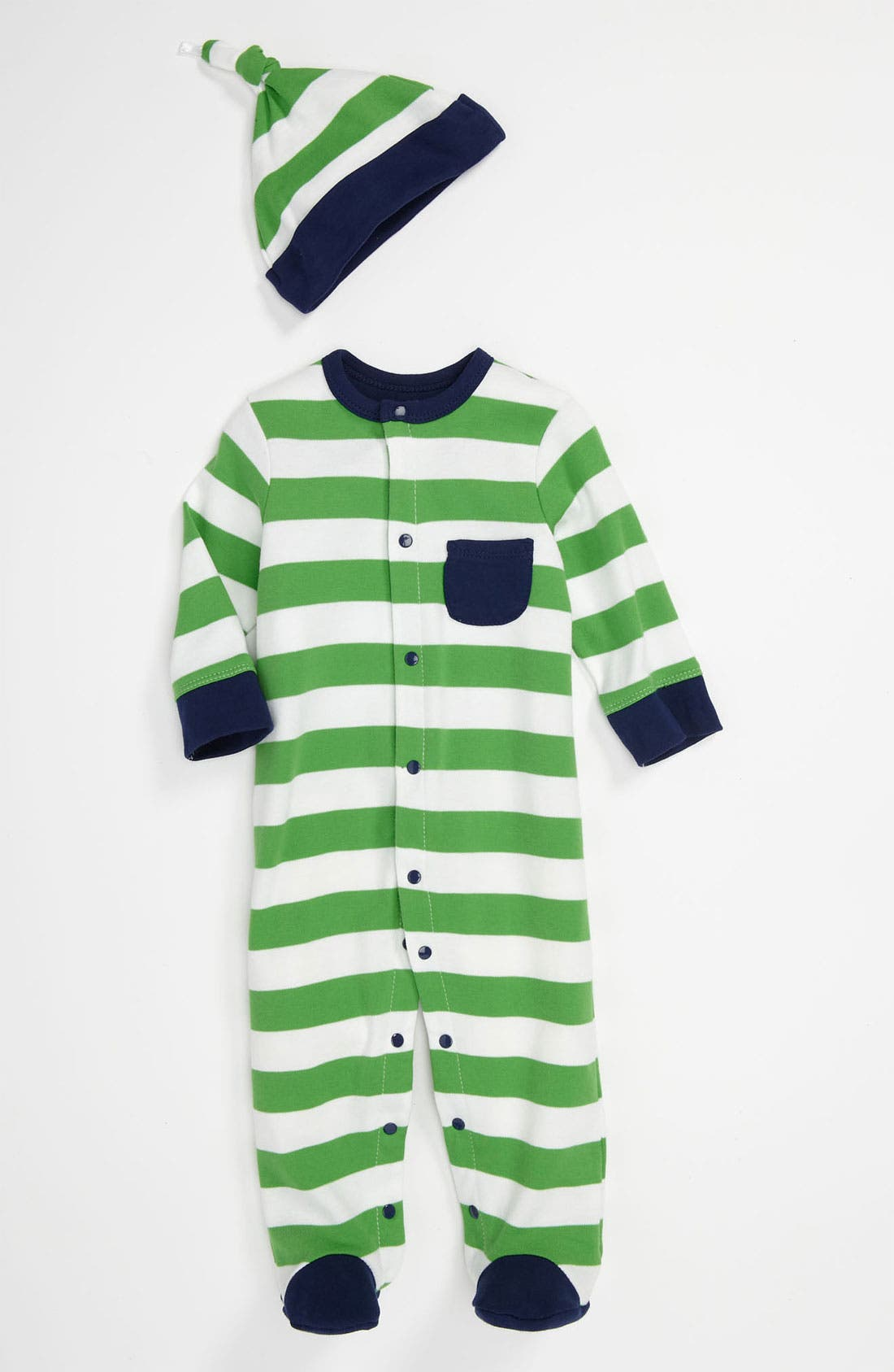 Main Image - Offspring Stripe Footie & Hat (Baby)