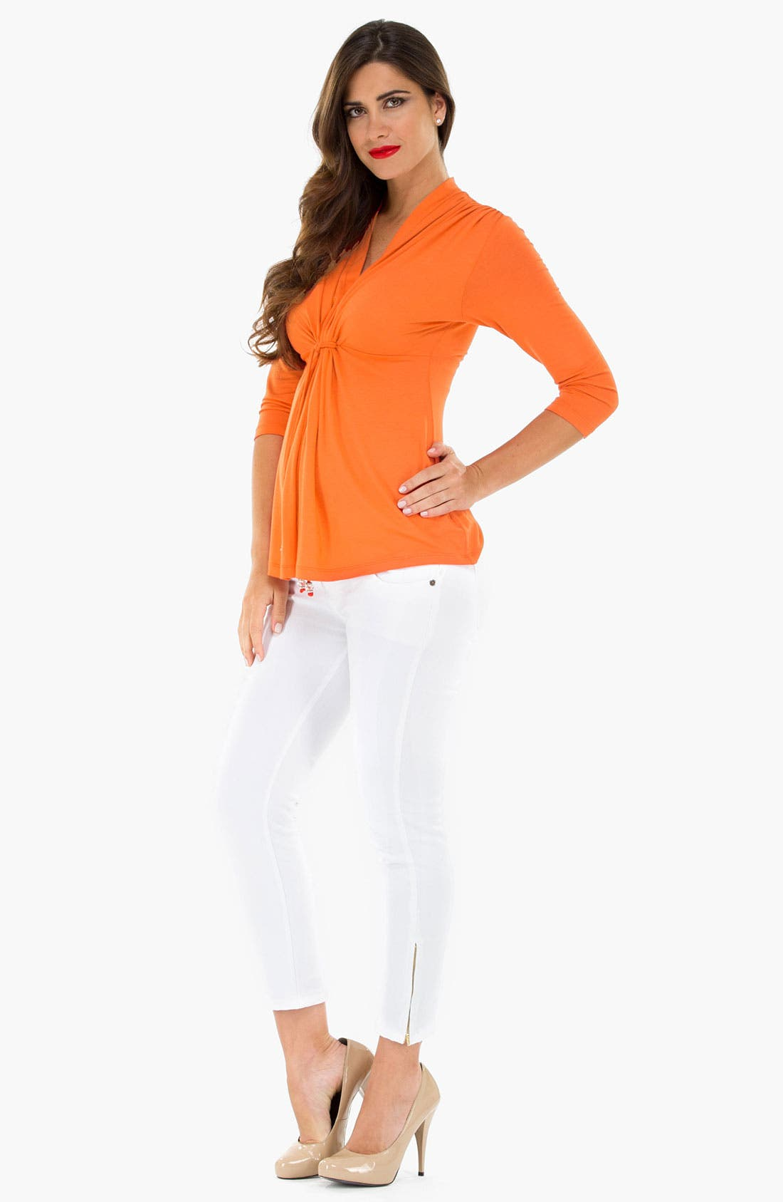 Alternate Image 2  - Olian Tie Front Maternity Top