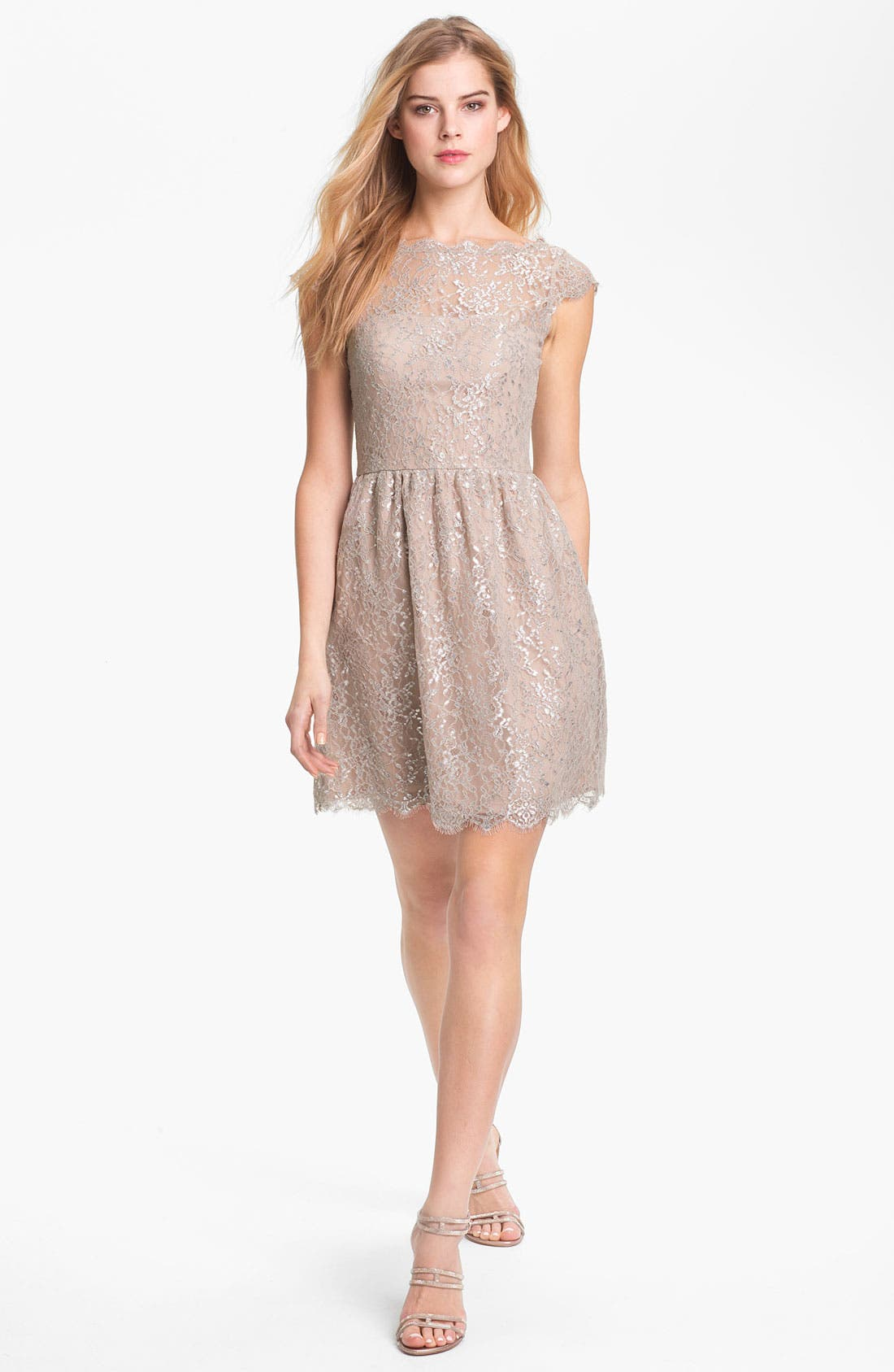 Alternate Image 1  - Aidan Mattox Metallic Lace Fit & Flare Dress
