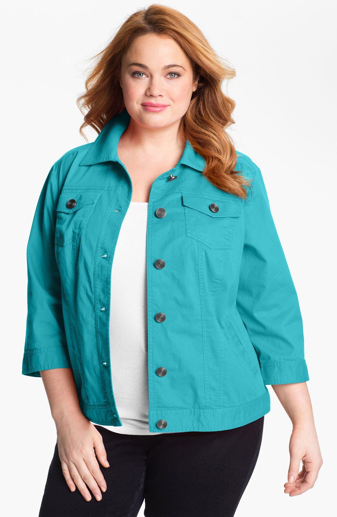 Alternate Image 1 Selected - Sejour 'Megan' Patch Pocket Jacket (Plus Size)