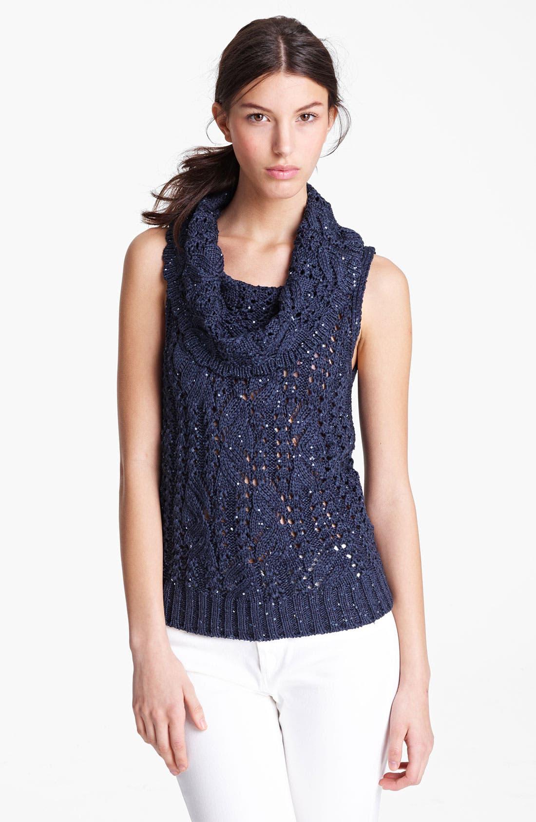 Alternate Image 1 Selected - Oscar de la Renta Sequin Knit Top