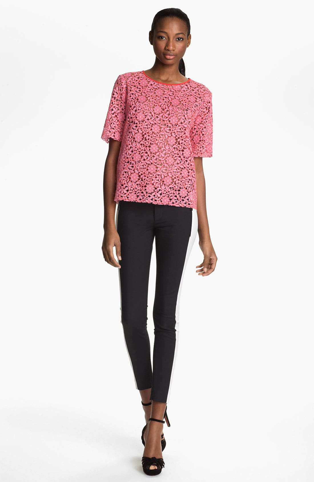 Main Image - MSGM Short Sleeve Lace Top