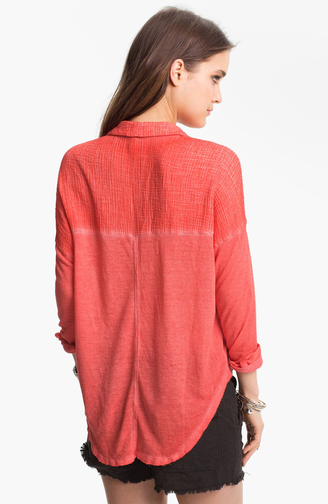 Alternate Image 2  - Free People Mixed Texture Boxy Shirt