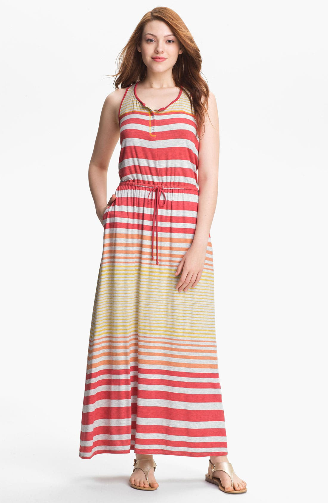 Alternate Image 1 Selected - Max & Mia Drawstring Waist Maxi Dress