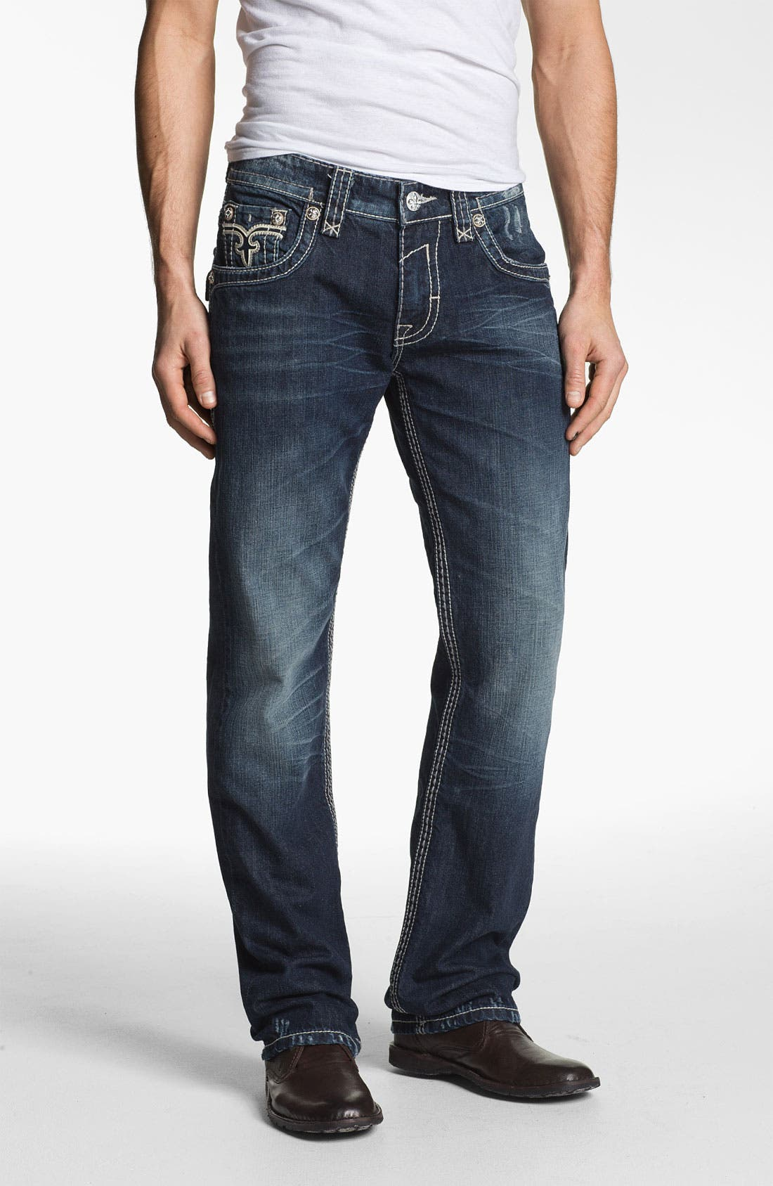 Alternate Image 2  - Rock Revival 'Alec' Straight Leg Jeans (Dark Blue)