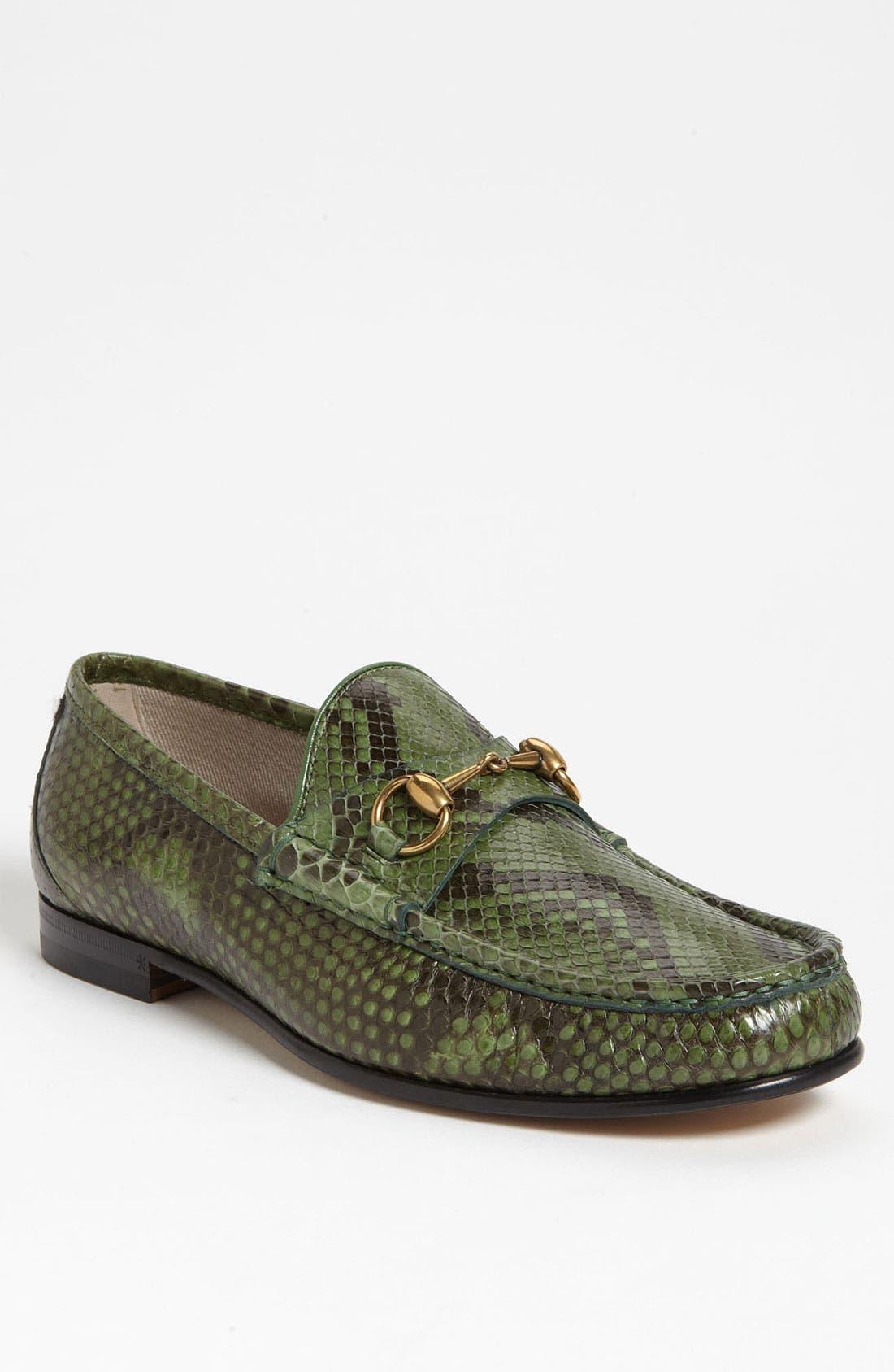 Alternate Image 1 Selected - Gucci 'Roos' Python Bit Loafer