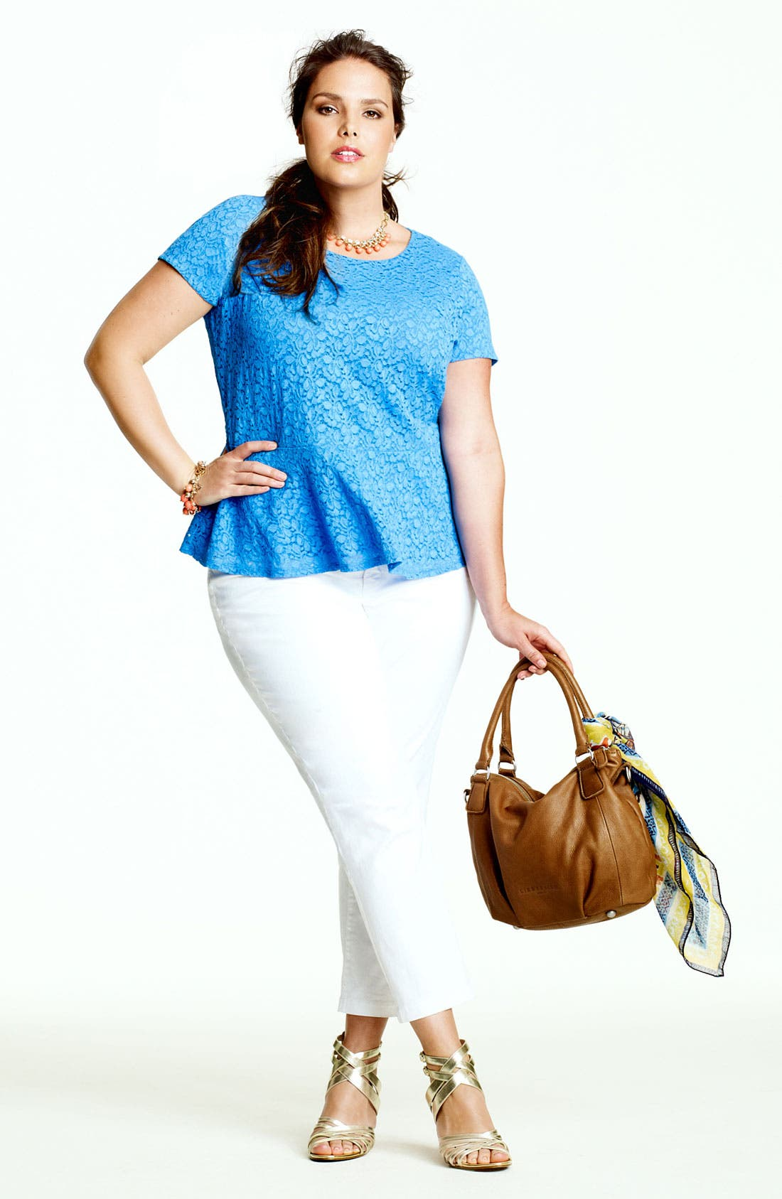 Alternate Image 4  - Vince Camuto Lace Peplum Top (Plus Size)