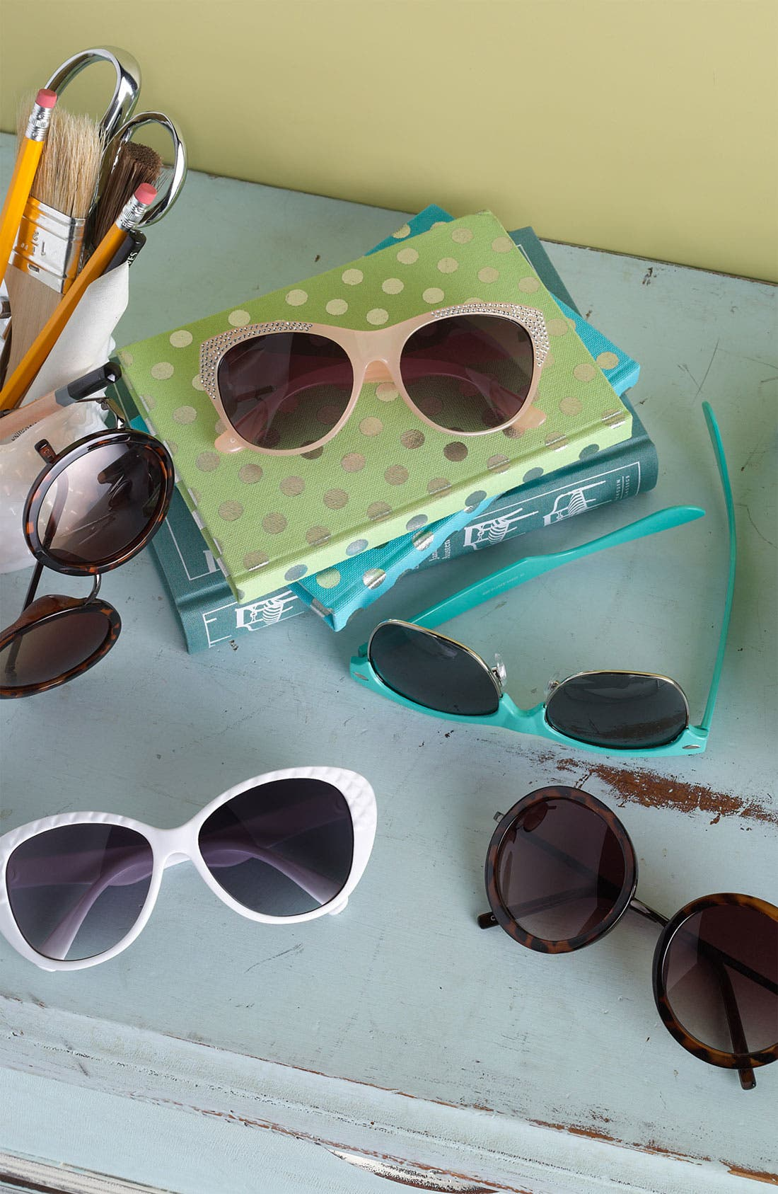 Alternate Image 2  - Fantas Eyes Rhinestone Stud Sunglasses