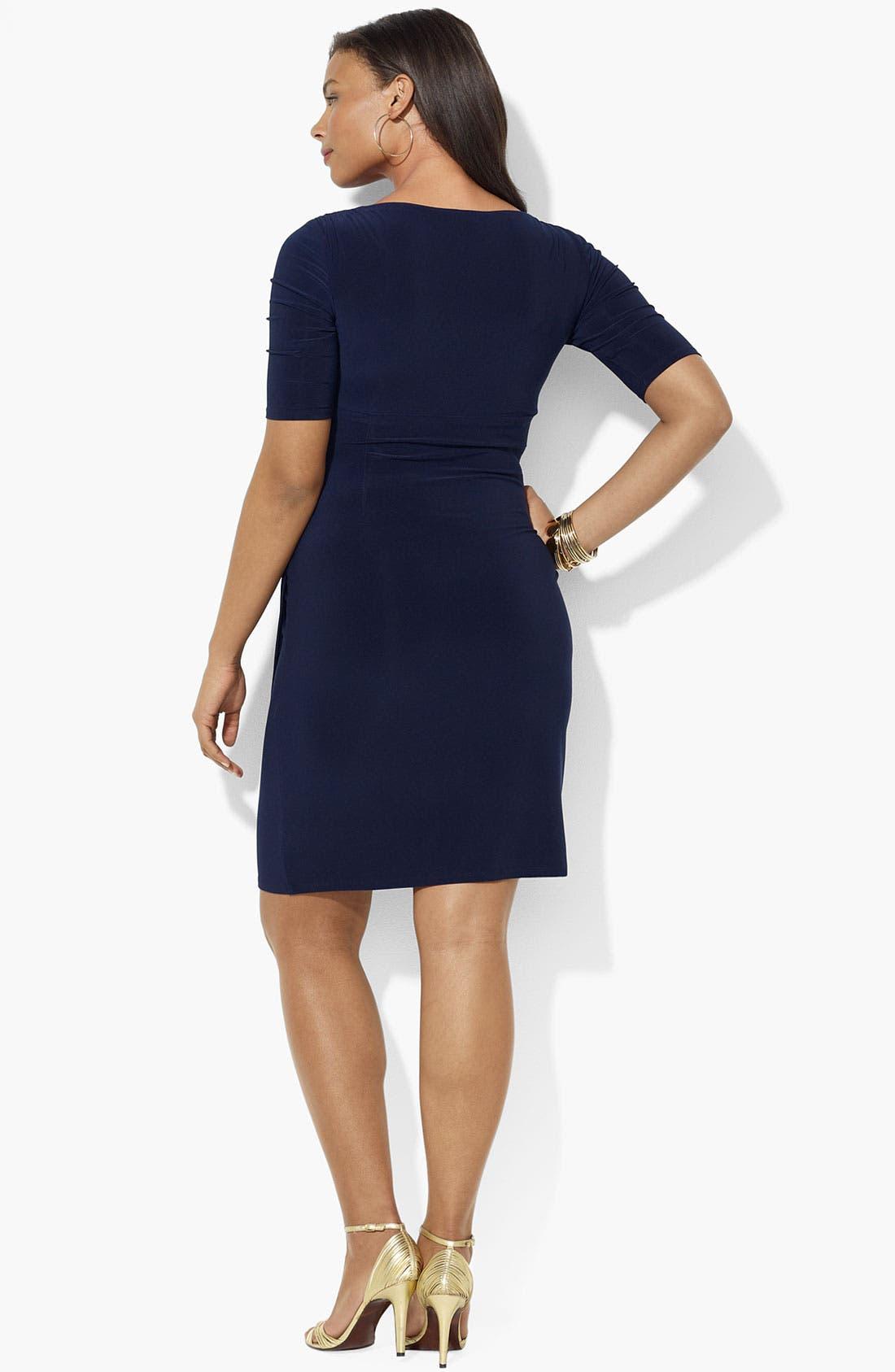 Alternate Image 2  - Lauren Ralph Lauren Ruched Matte Jersey Dress (Plus)