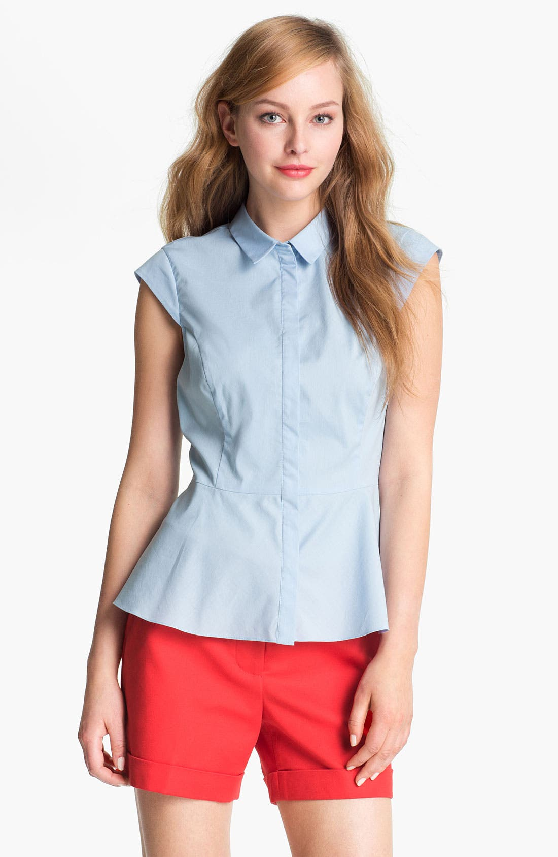 Alternate Image 1 Selected - Vince Camuto Cap Sleeve Peplum Blouse