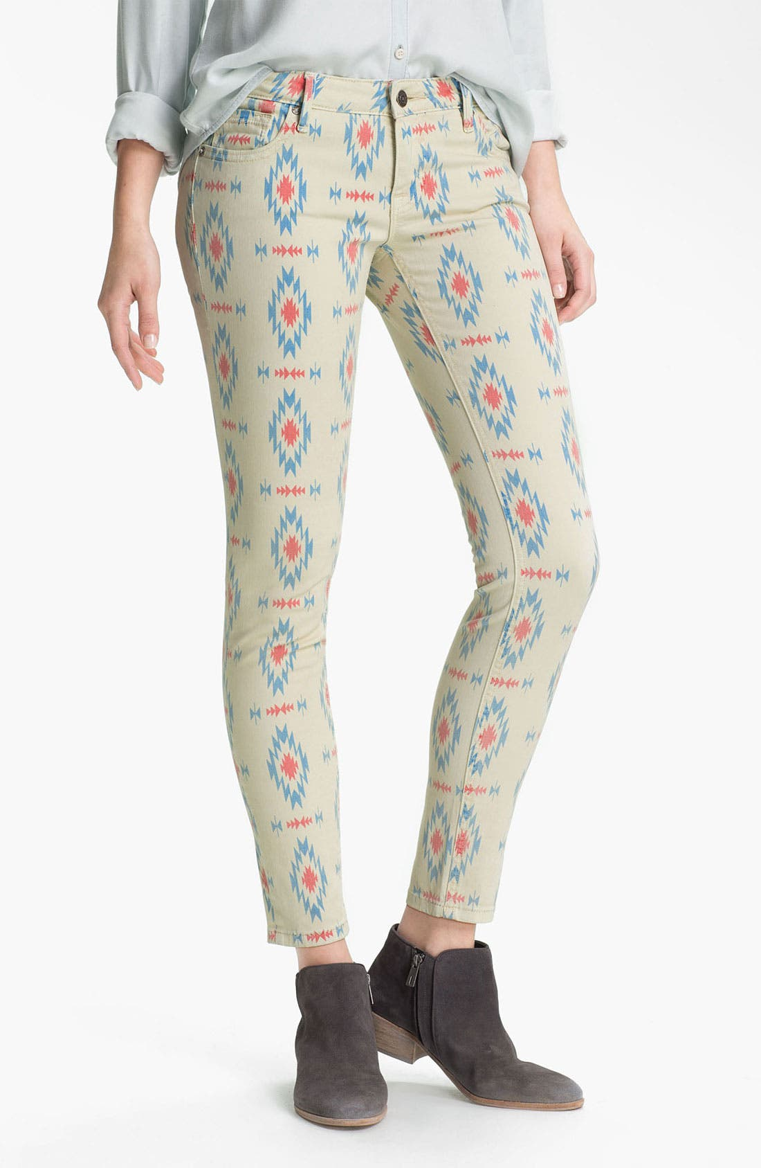 Alternate Image 2  - Vigoss Print Skinny Jeans (Juniors)