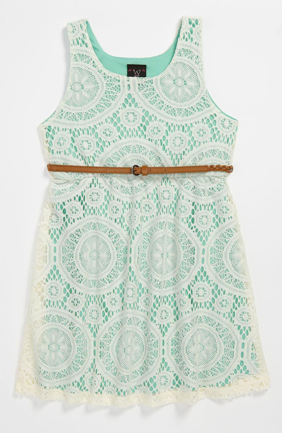 Main Image - W Girl Belted Dress (Little Girls)