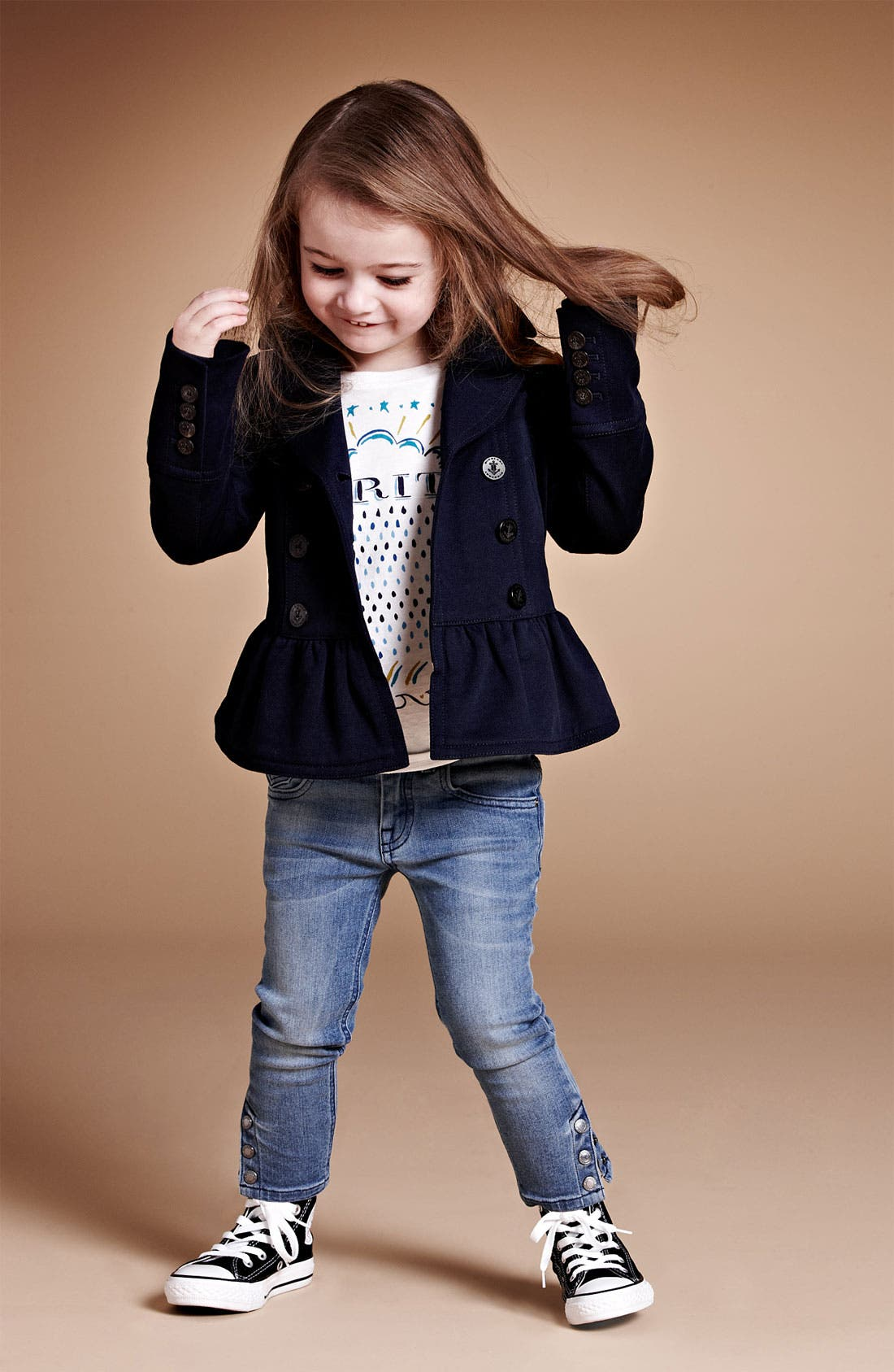 Main Image - Burberry Tee, Jacket & Skinny Jeans (Little Girls & Big Girls)
