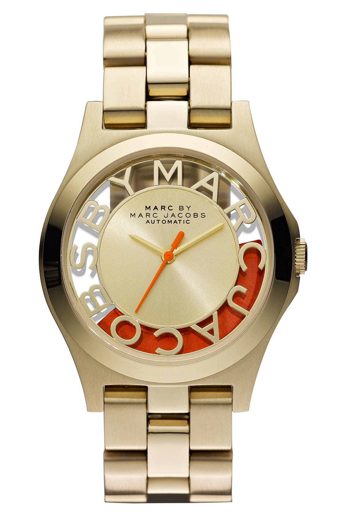 Alternate Image 1 Selected - MARC BY MARC JACOBS 'Henry Skeleton' Automatic Watch