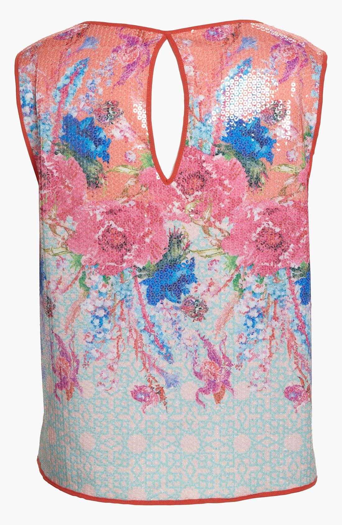 Alternate Image 3  - Dream Daily 'Vermilion Flowers' Sequin Crop Top