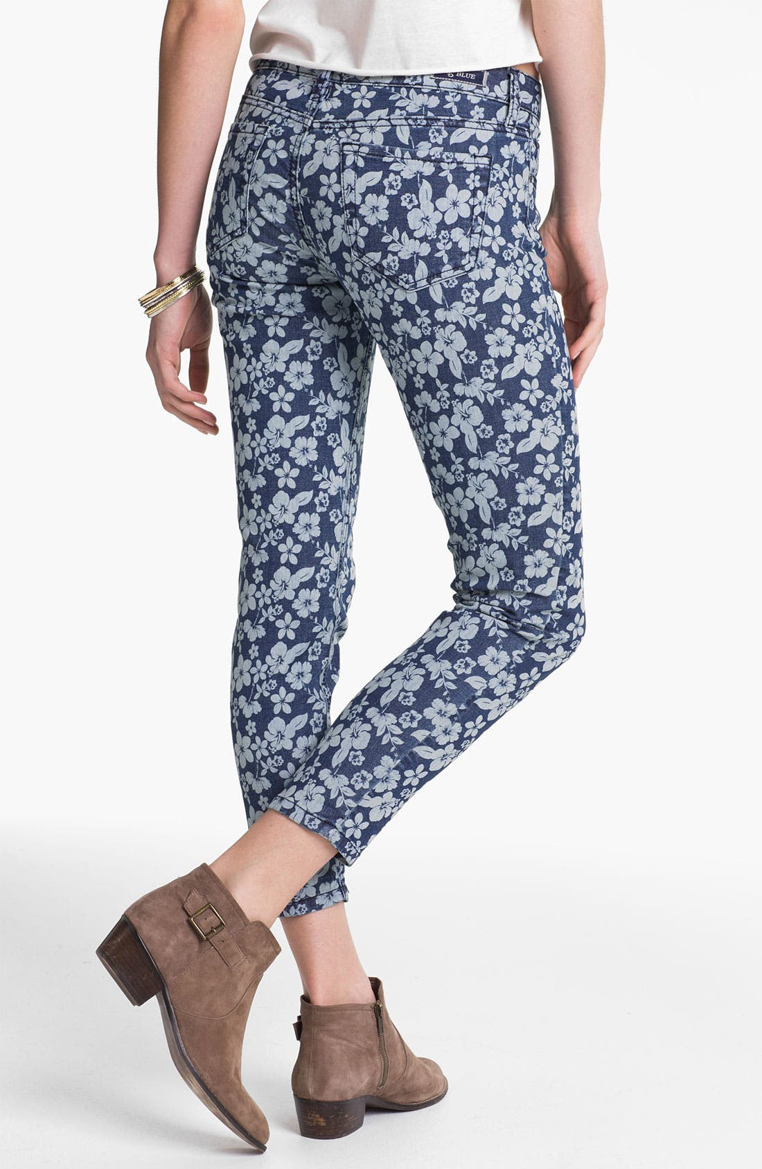 Alternate Image 2  - STS Blue Floral Print Crop Skinny Jeans (Juniors)