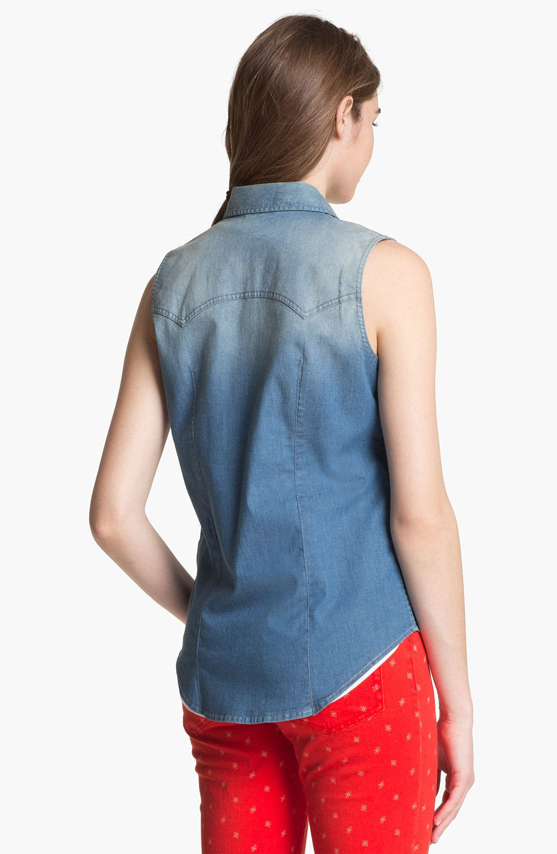 Alternate Image 2  - Two by Vince Camuto Sleeveless Chambray Shirt