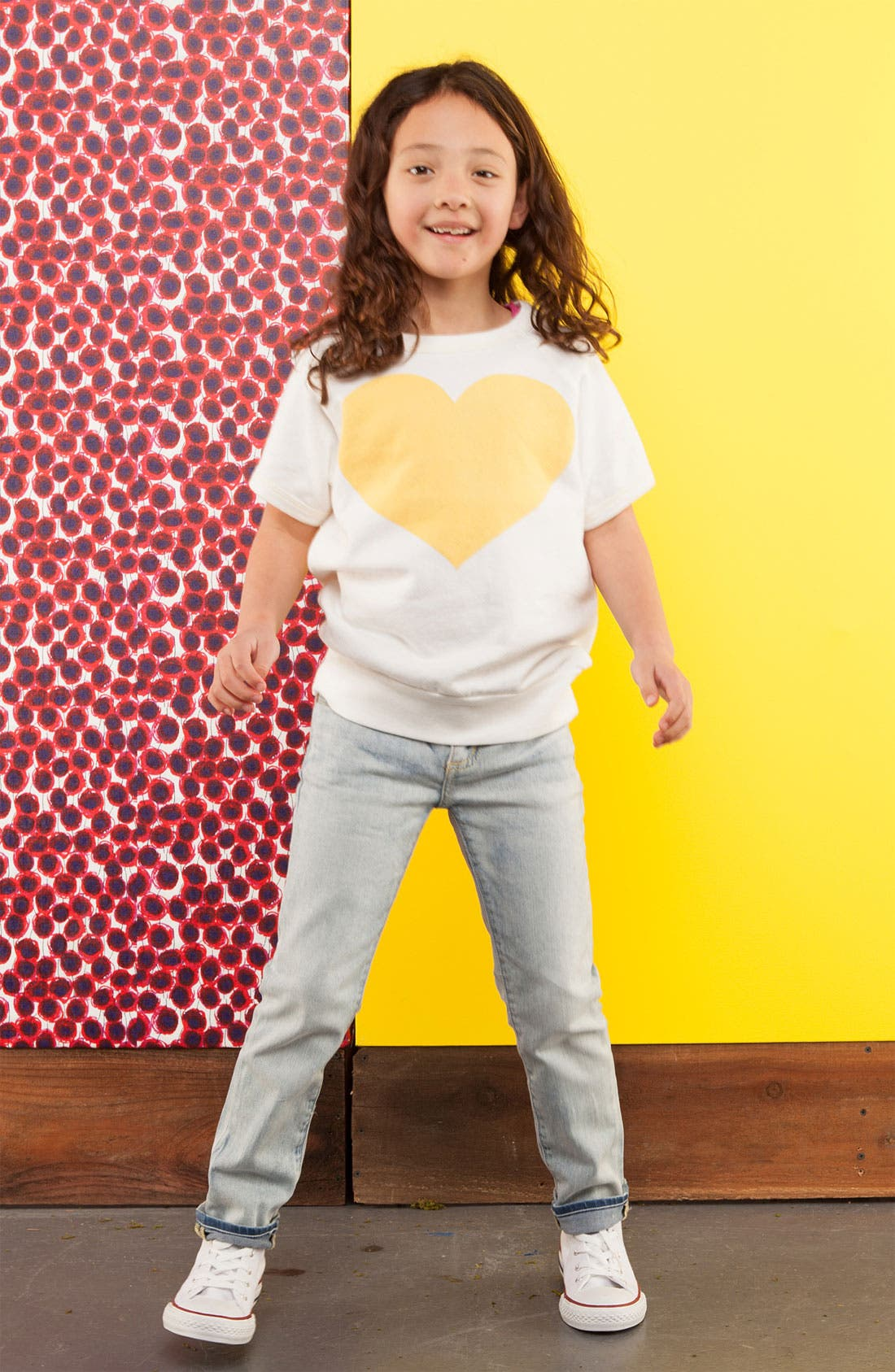 Alternate Image 1 Selected - Peek Sweatshirt, Jeans & Sneaker (Toddler, Little Girls & Big Girls)