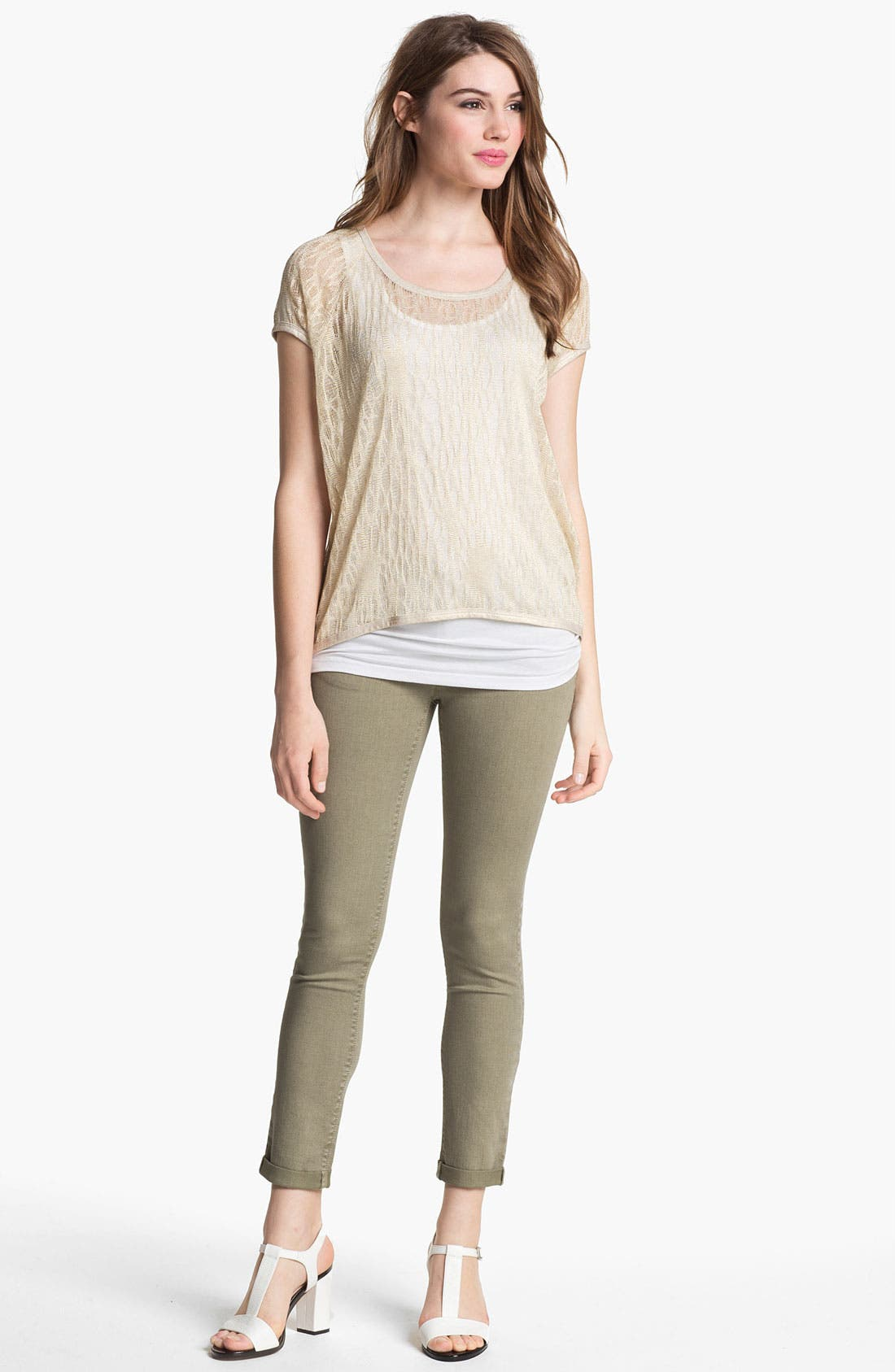 Alternate Image 2  - Two by Vince Camuto 'Shorty' Skinny Crop Jeans (Washed Olive)