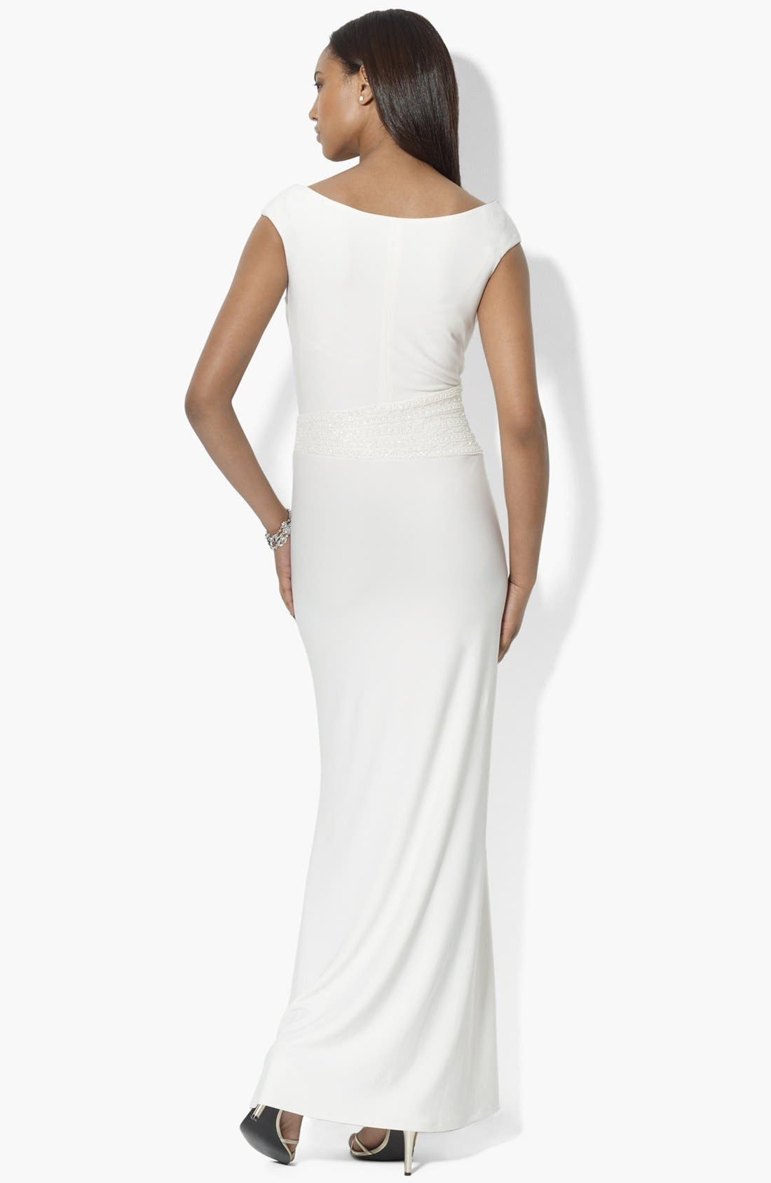 Alternate Image 2  - Lauren Ralph Lauren Embellished Draped Matte Jersey Gown
