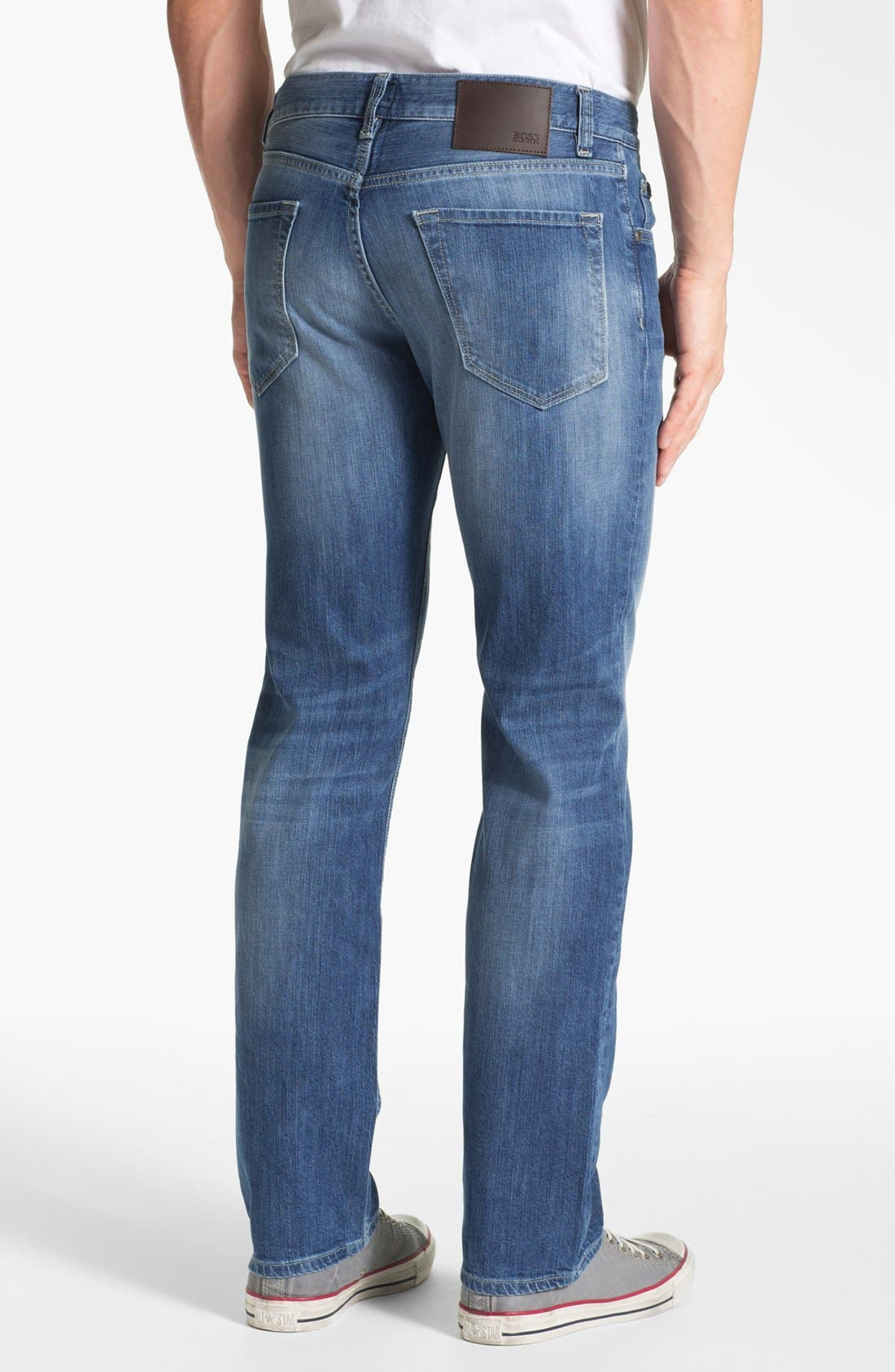 Alternate Image 2  - BOSS HUGO BOSS 'Maine' Straight Leg Regular Fit Jeans (Dark Used)