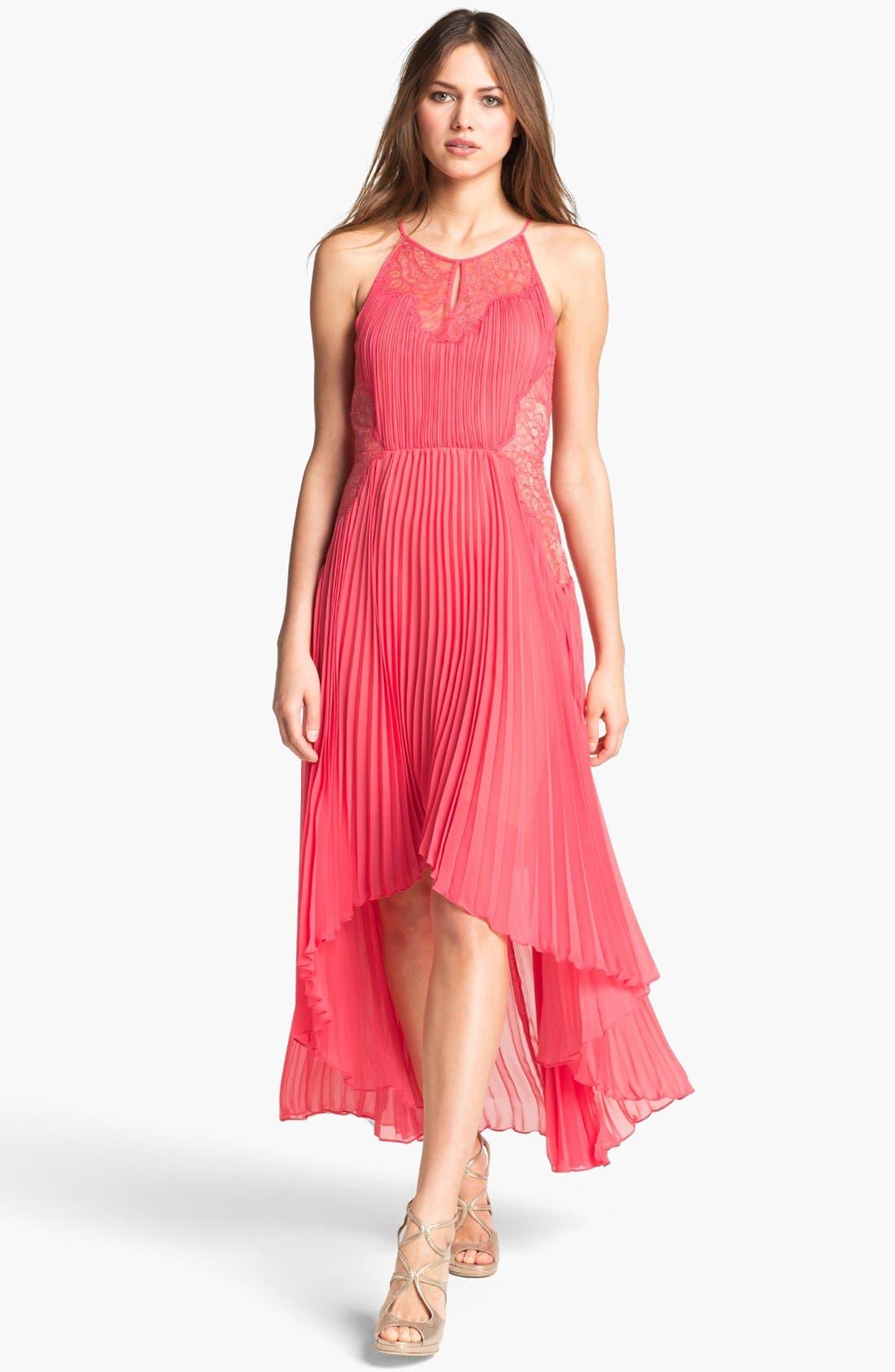 Alternate Image 1 Selected - BCBGMAXAZRIA Pleated Lace & Chiffon High/Low Dress