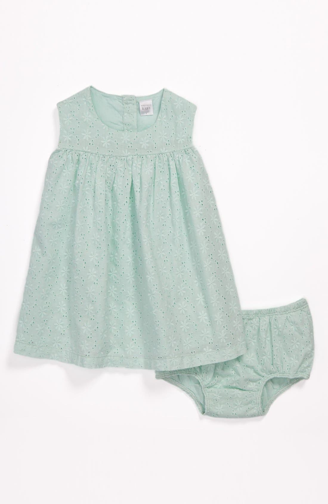 Alternate Image 1 Selected - Nordstrom Baby Eyelet Dress & Bloomers (Baby Girls)