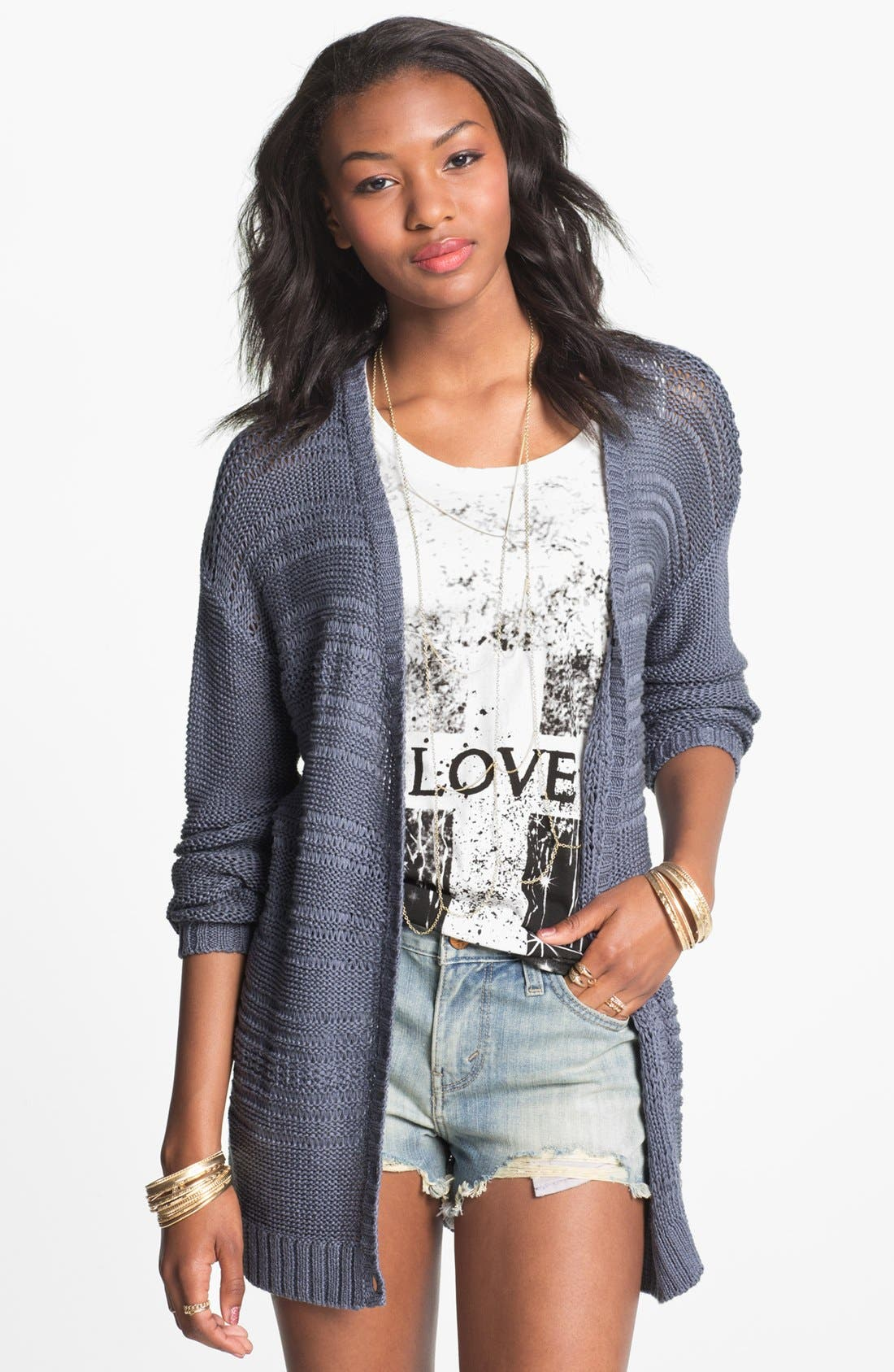 Main Image - Rubbish Open Weave Cardigan (Juniors)