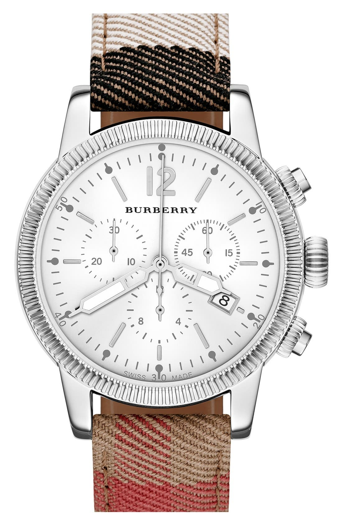 Main Image - Burberry Chronograph Check Strap Watch, 42mm