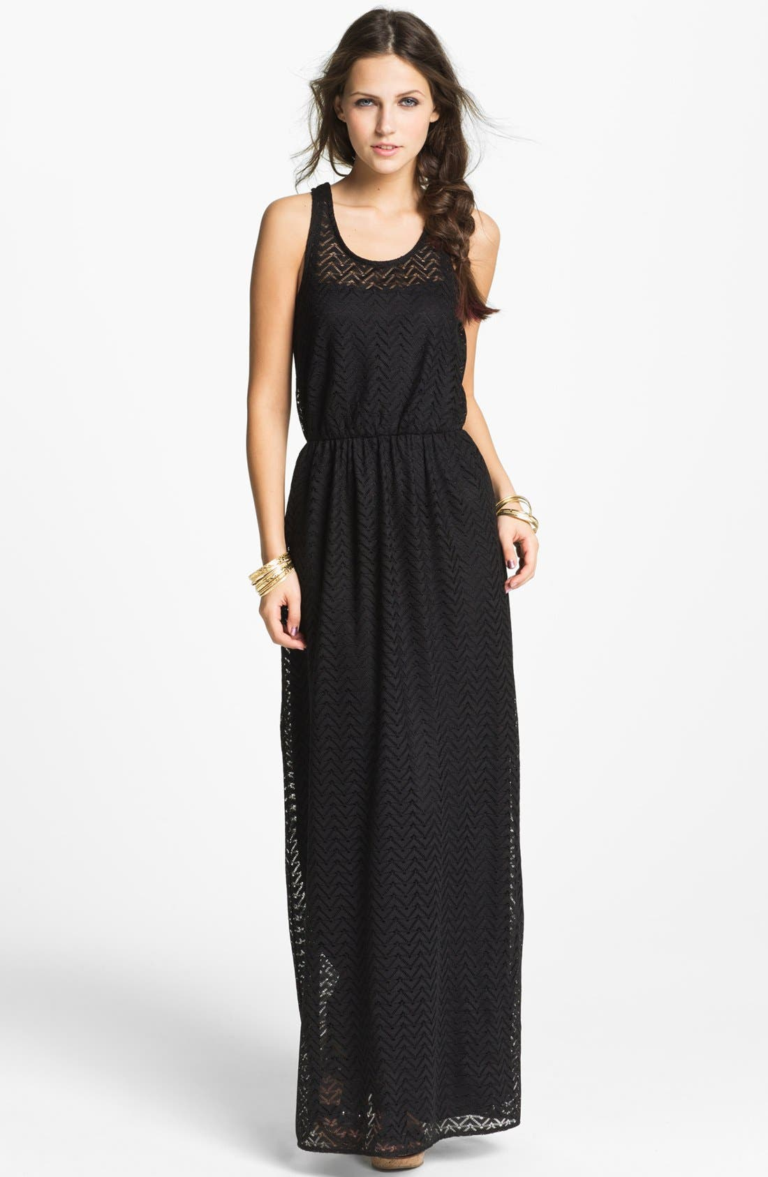 Main Image - Way-In Zigzag Crochet Maxi Dress (Juniors)