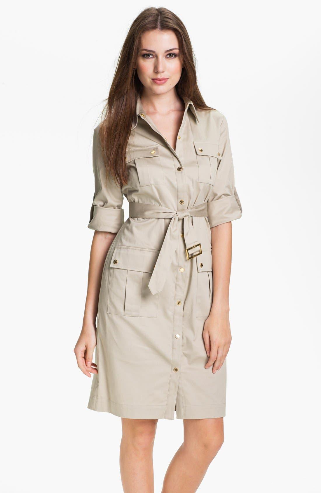 Alternate Image 1 Selected - Calvin Klein Belted Cotton Shirtdress (Petite)