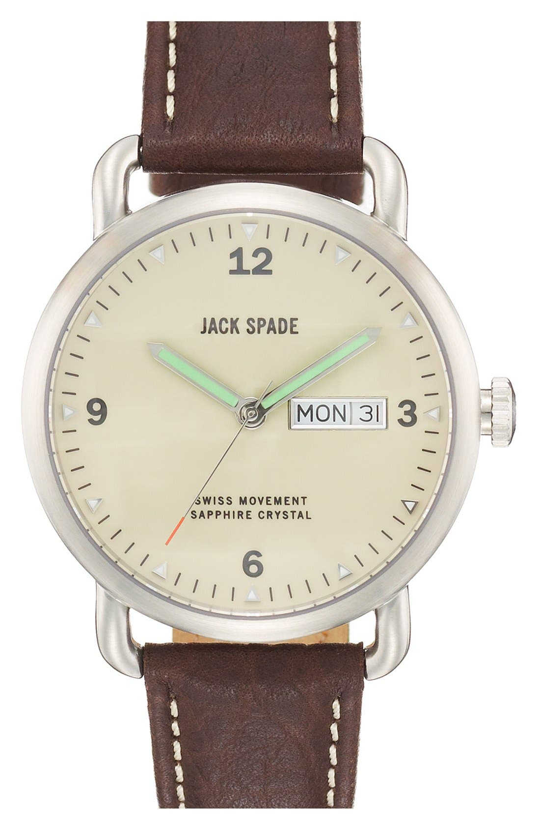 Main Image - Jack Spade 'Buckner' Leather Strap Watch, 42mm