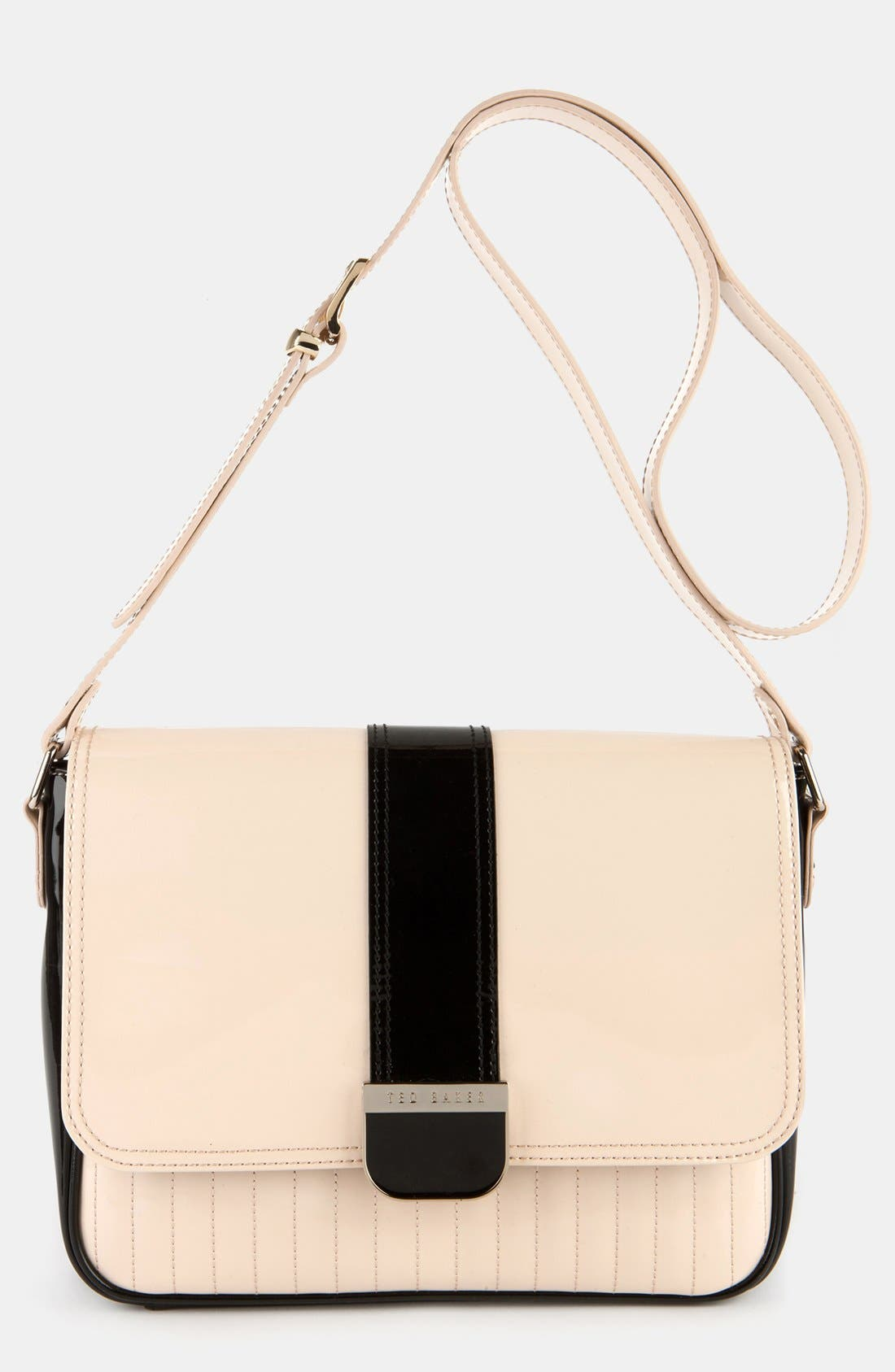 Main Image - Ted Baker London 'Enamel - Large Colorblock' Quilted Faux Leather Crossbody Bag